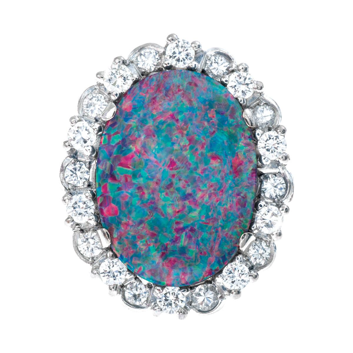 Vintage Opal Doublet & 1.20 CTW Diamond Ring