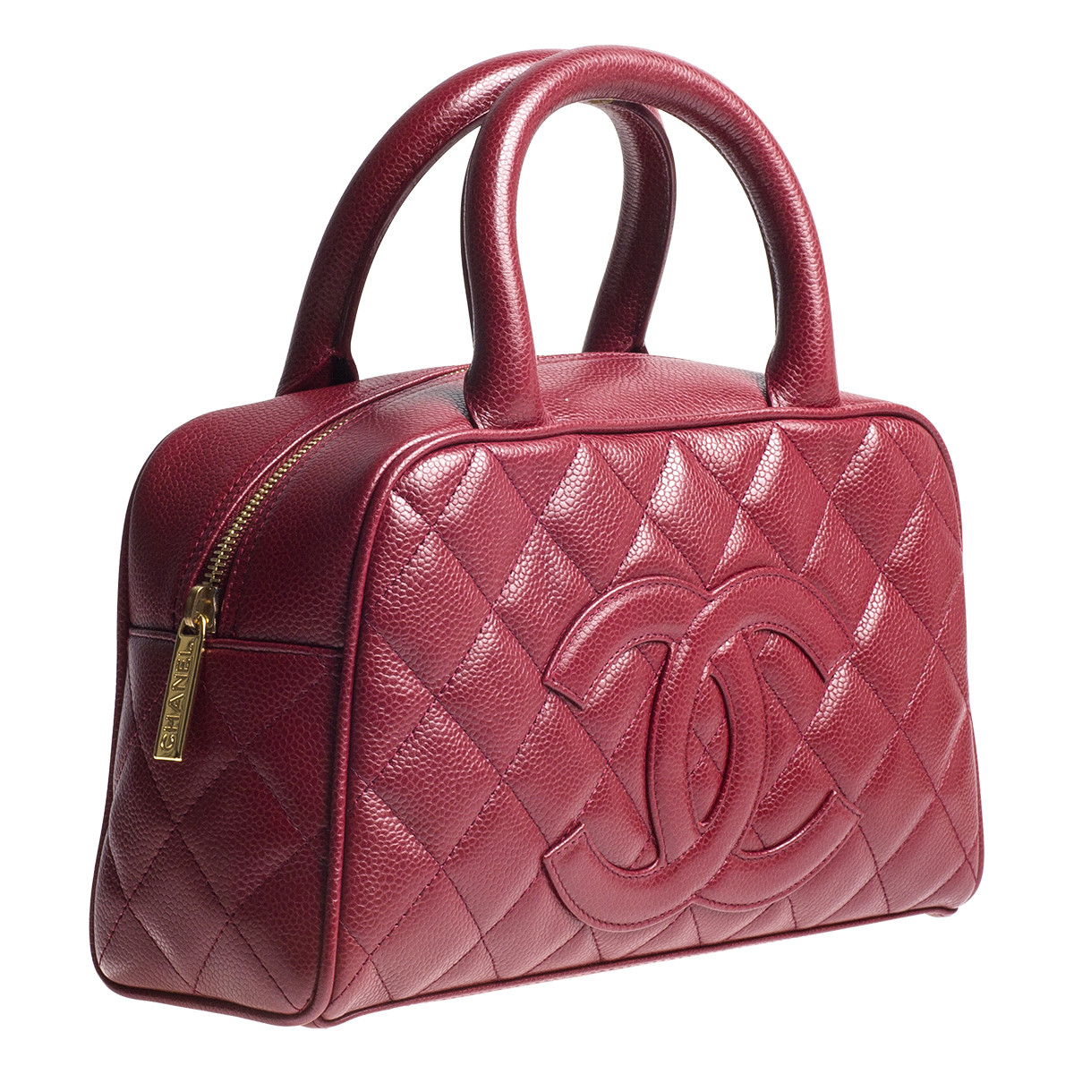 Vintage Chanel Quilted Red Caviar Leather Bowler Handbag