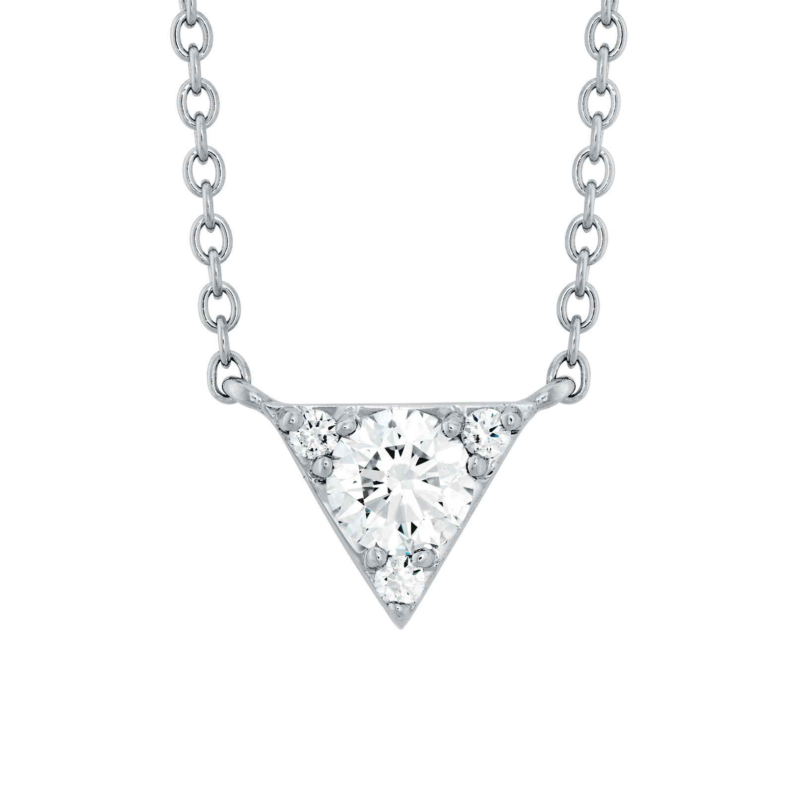 New Hearts On Fire® 0.26 CTW Diamond Triplicity Triangle Necklace