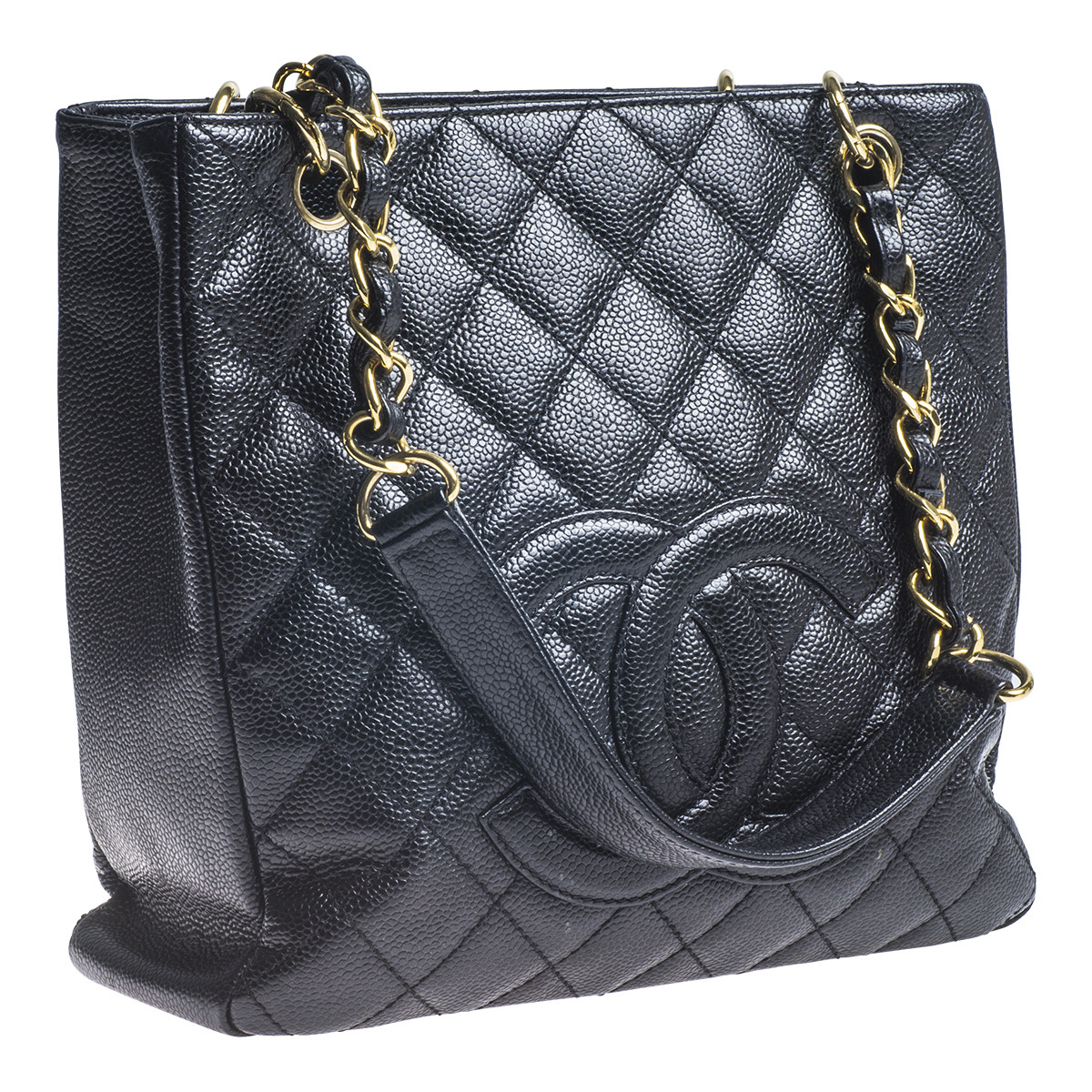 Vintage Chanel Black Leather Quilted Caviar Tote Bag