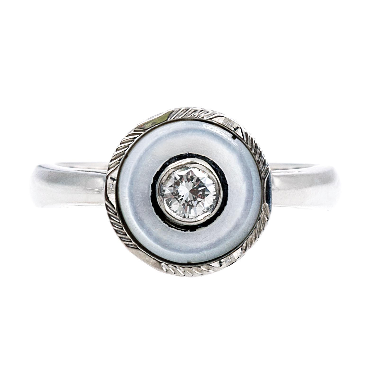 Vintage Mother-Of-Pearl & 0.10 CT Diamond Ring