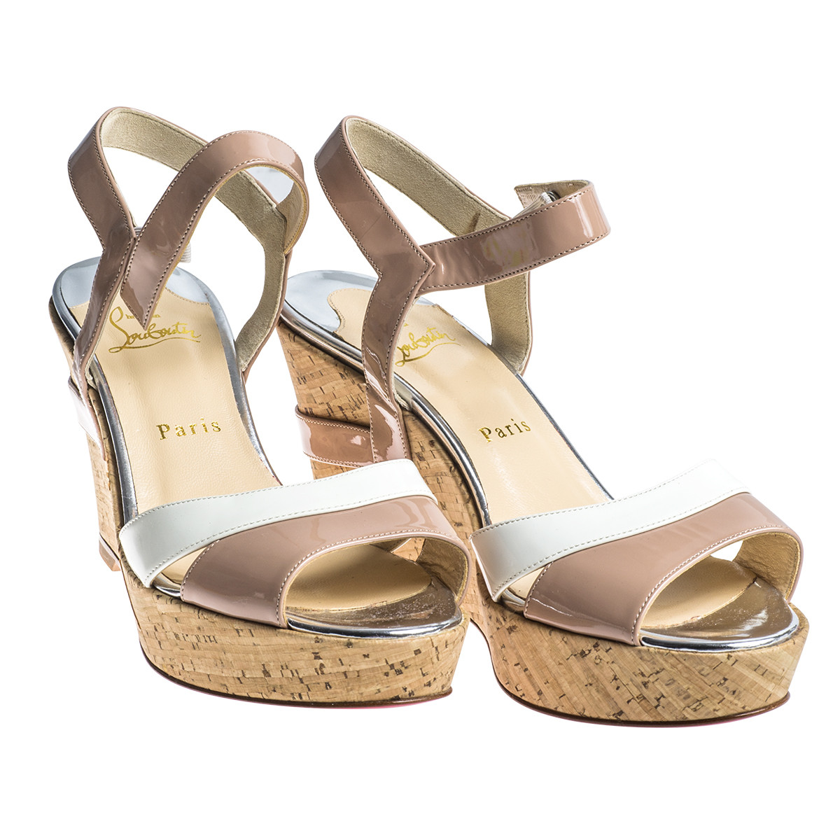 Vintage Christian Louboutin White & Nude Patent Leather Carteron Wedge Sandals