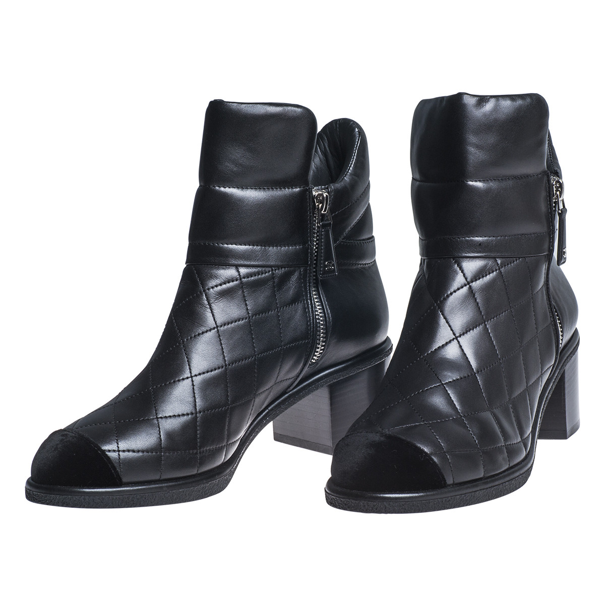 vintage chanel black quilted leather ankle boots