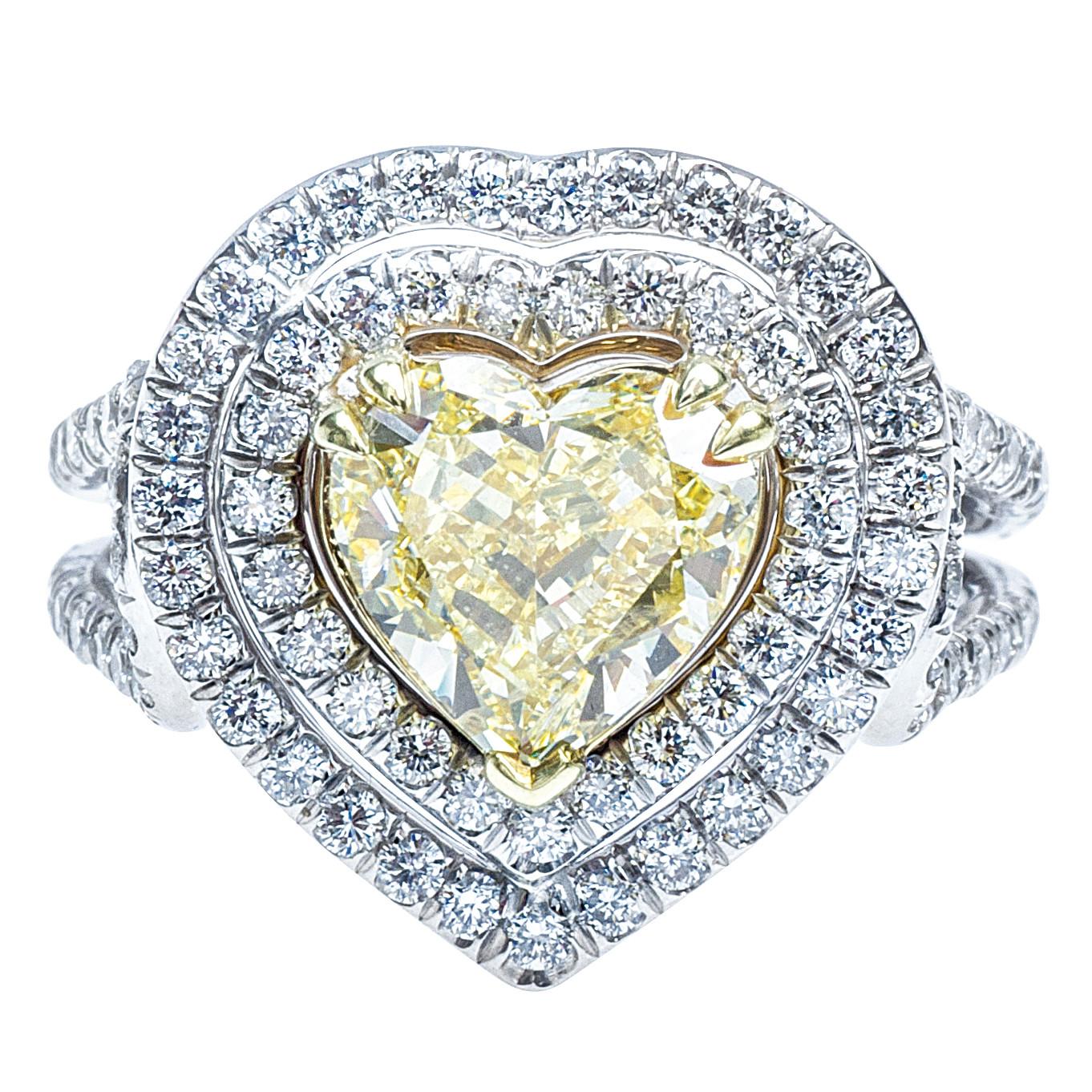 Vintage 3.34 CTW Yellow & White Diamond Heart Ring