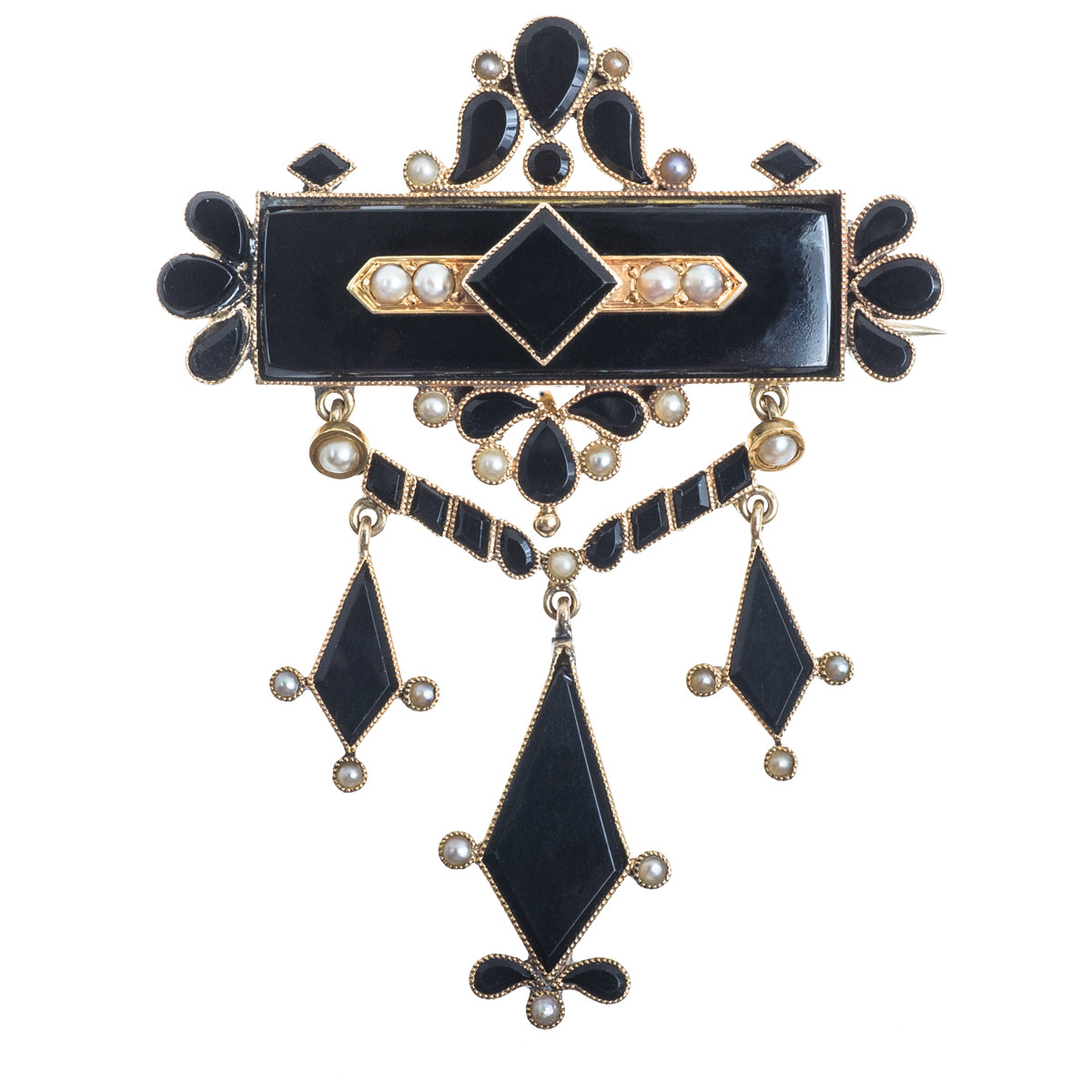 Victorian Onyx & Cabochon Seed Pearl Pendant