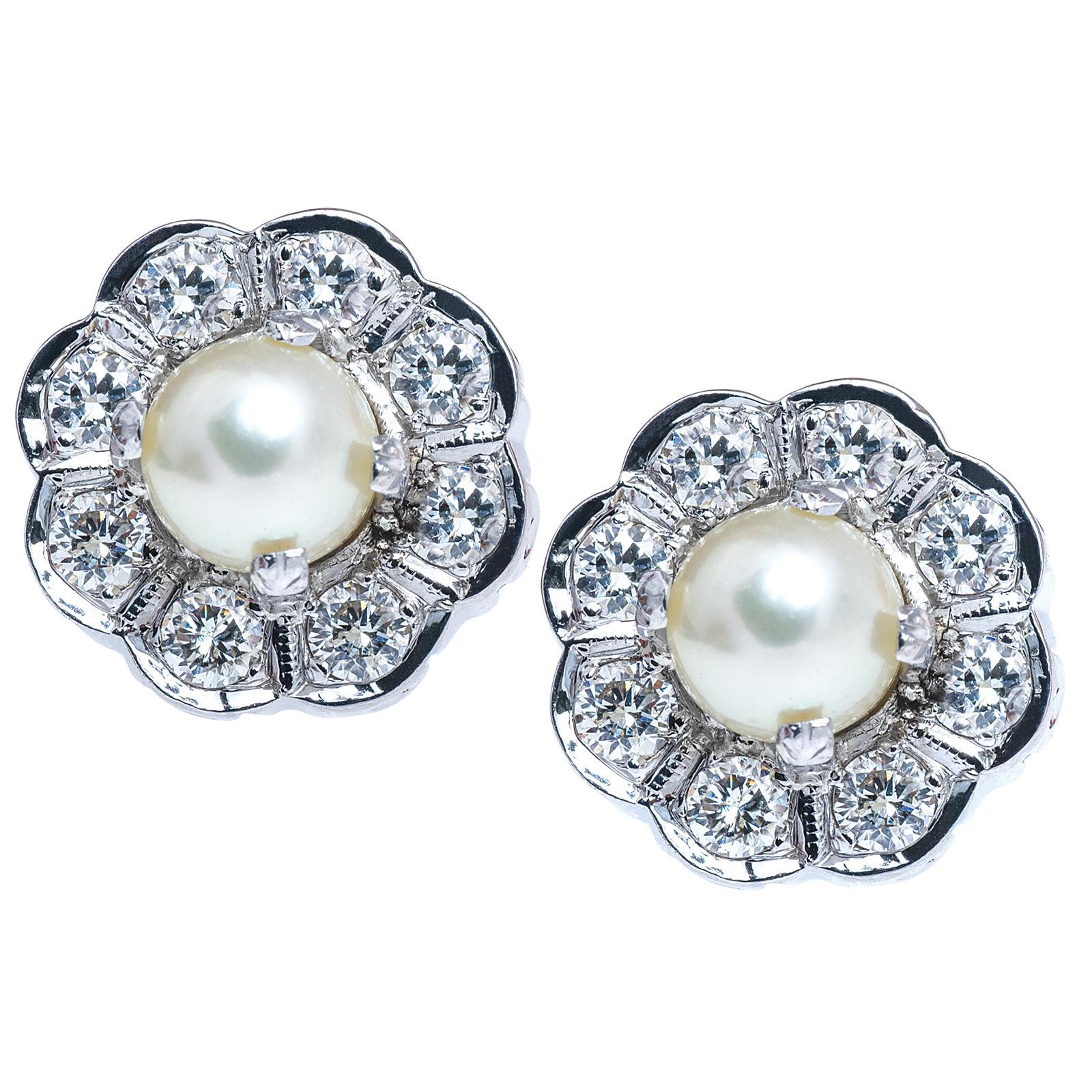 Vintage Mid-Century Pearl & 0.80 CTW Diamond Earrings