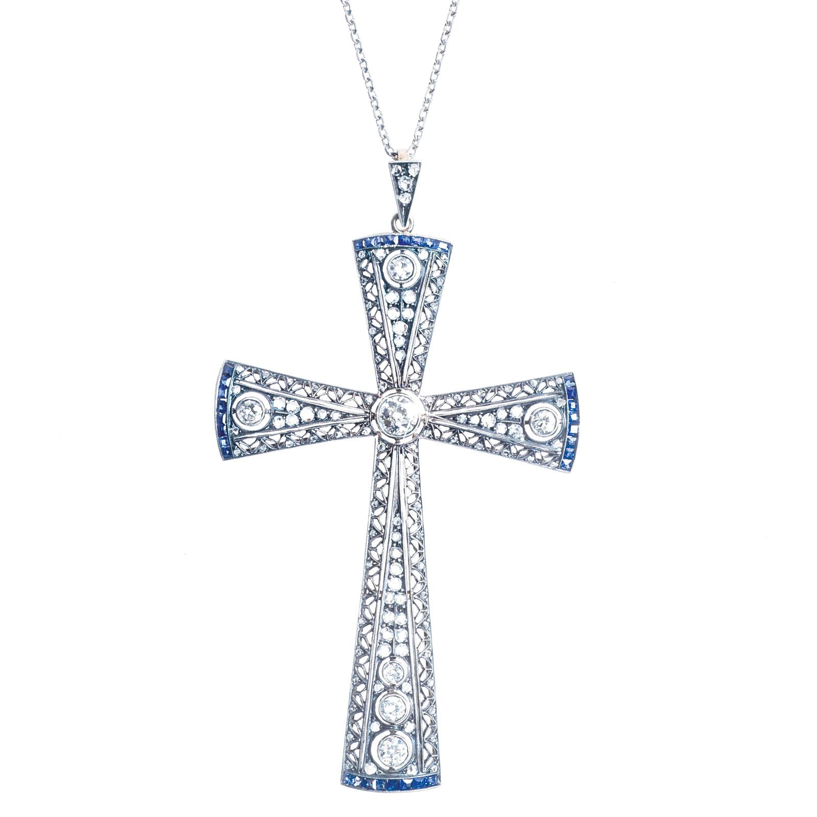 Victorian 1.87 CTW Diamond & Sapphire Cross Pendant