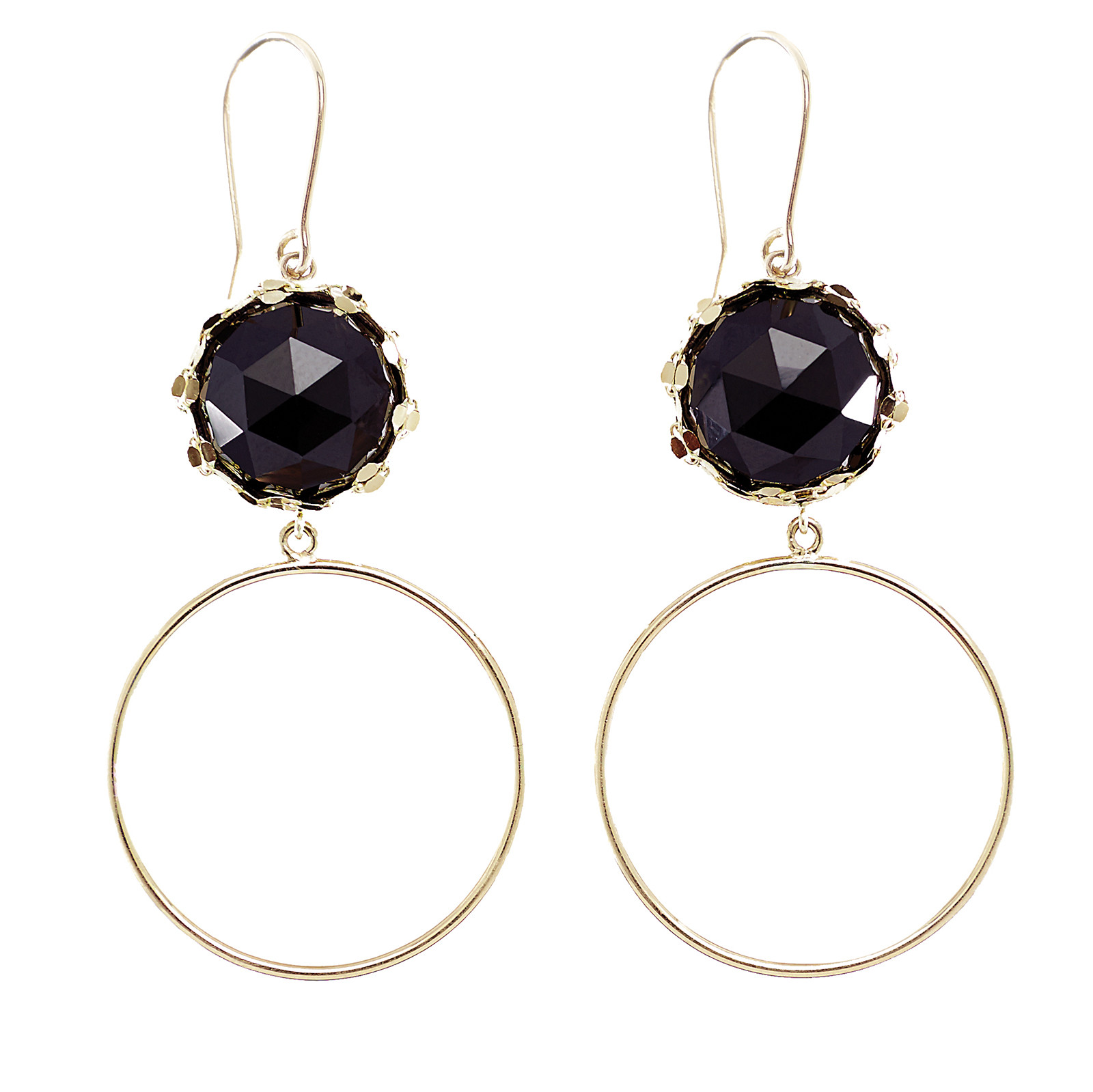 New Lana Onyx Rosecut Noir Dangle Hoops