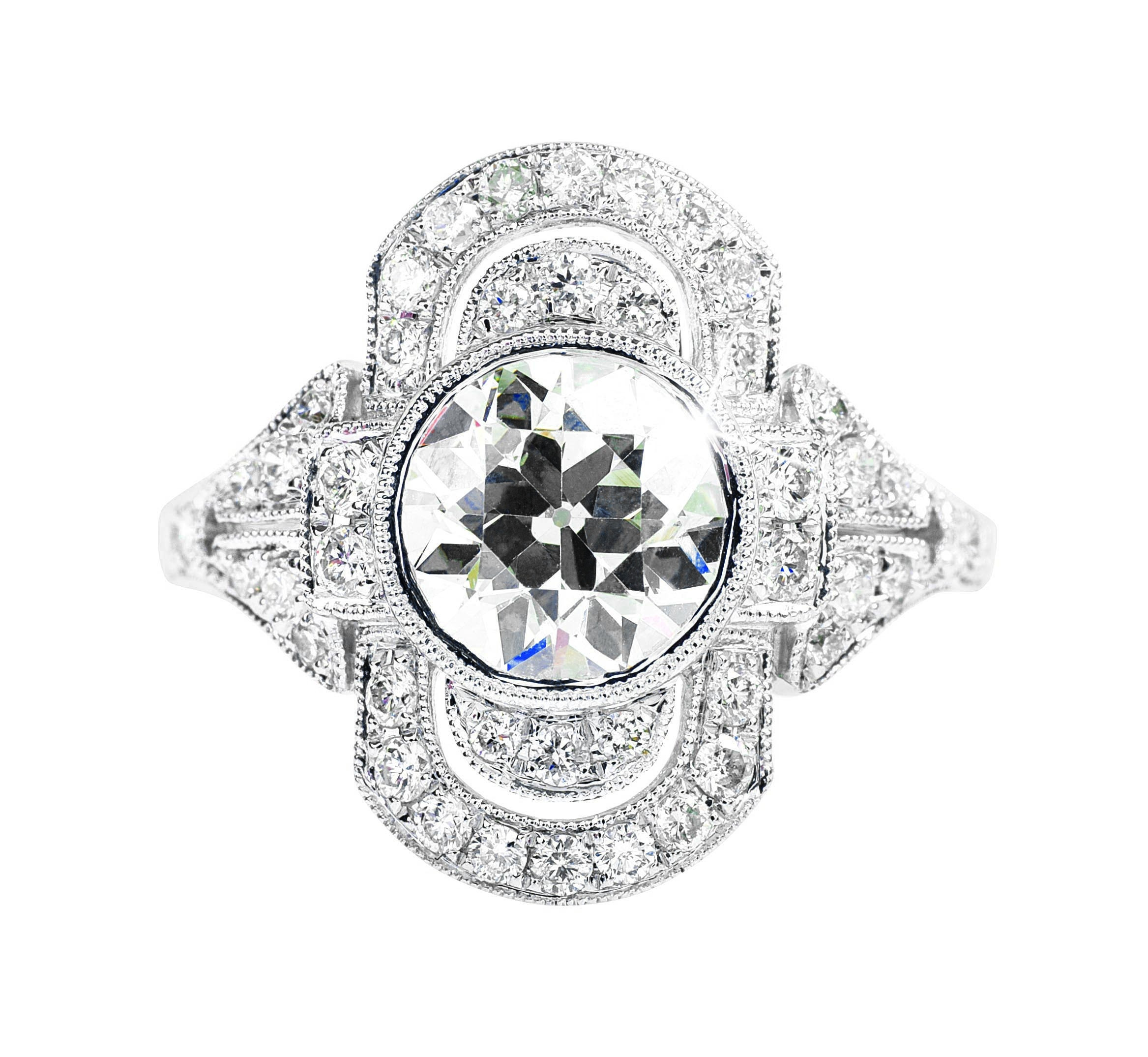 New 18k White Gold 2.53 CTW Diamond Engagement Ring