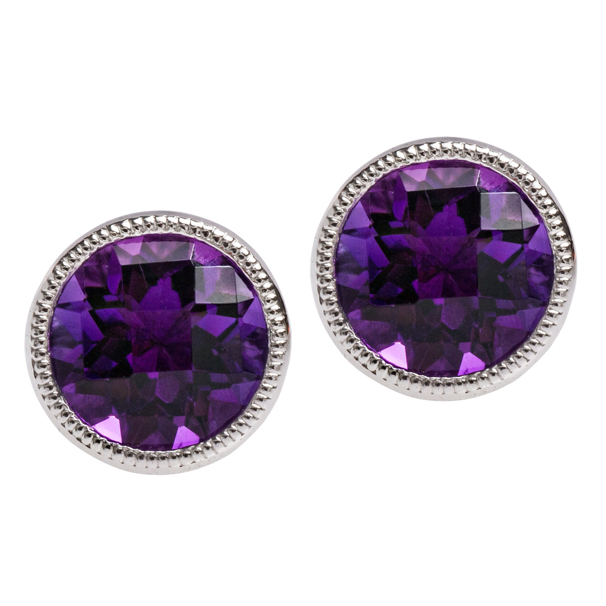 New 1.36 CTW Amethyst Stud Earrings