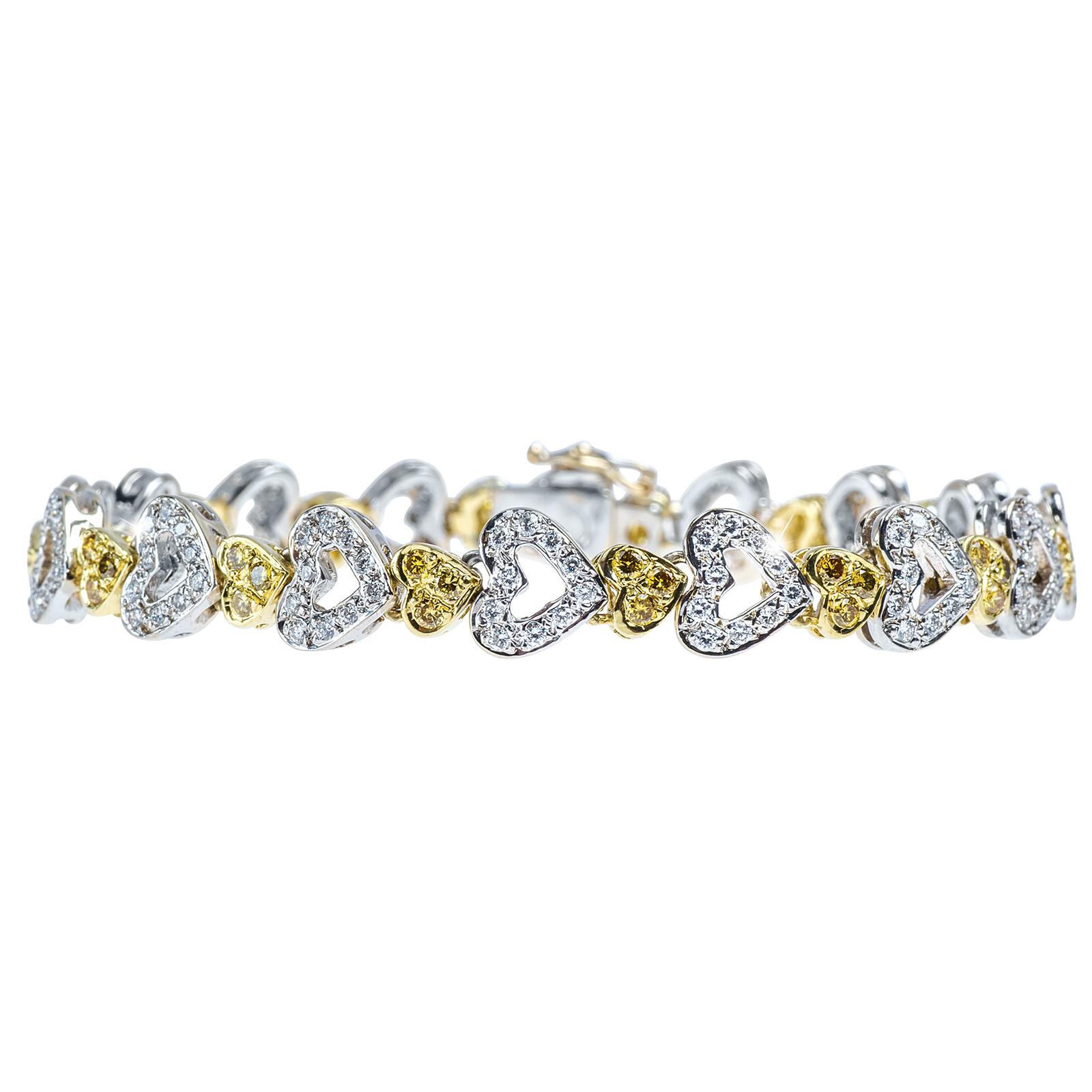 Vintage 1.85 CTW Yellow & White Diamond Bracelet
