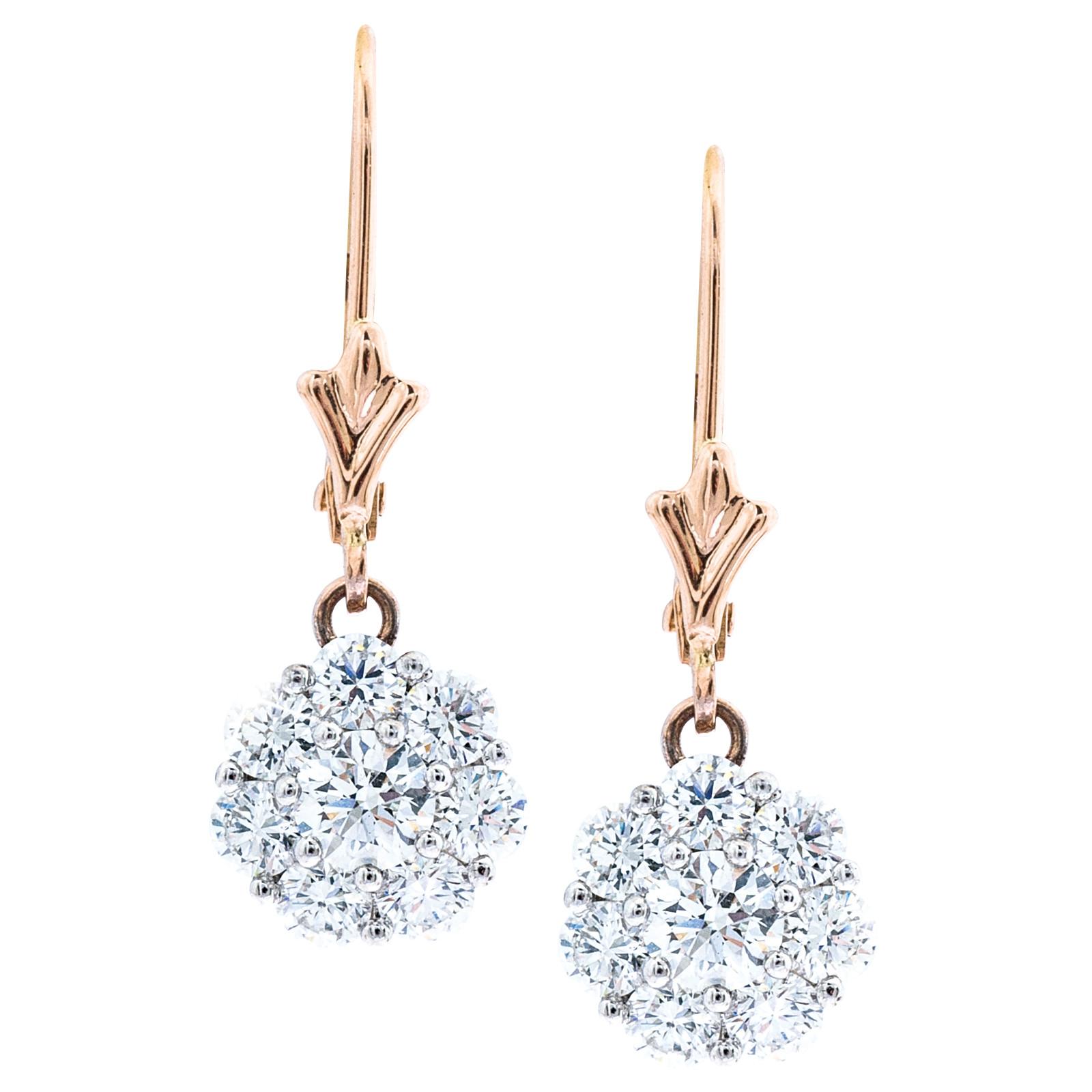 Vintage Hearts On Fire®  1.04 CTW Diamond Beloved Leverback Earrings