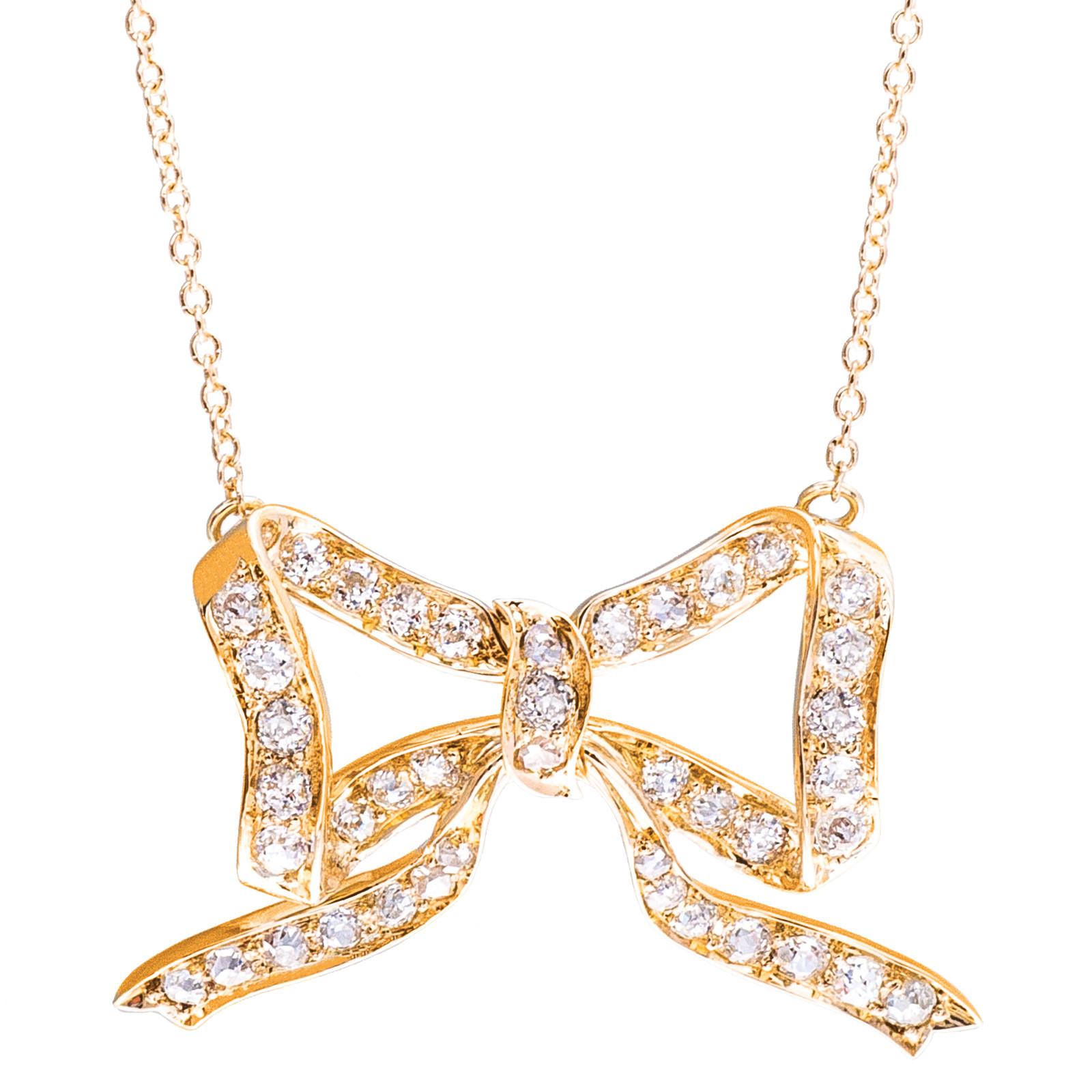 Vintage 0.80 CTW Diamond Bow Necklace
