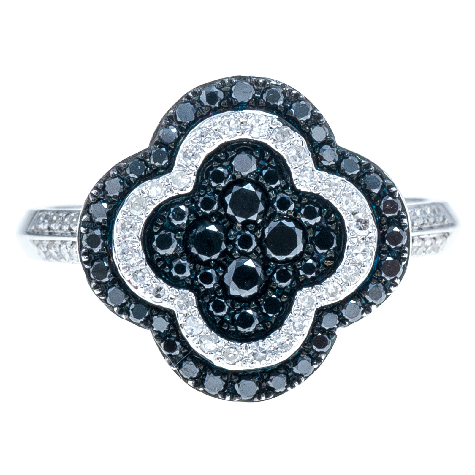 New 0.63 CTW Black & White Diamond Clover Ring