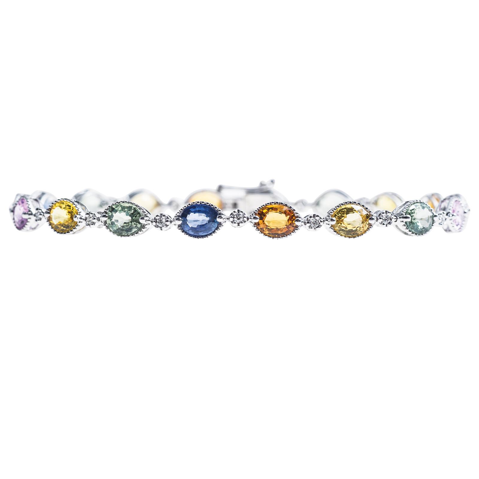 New 9.01 CTW Sapphire & Diamond Bracelet