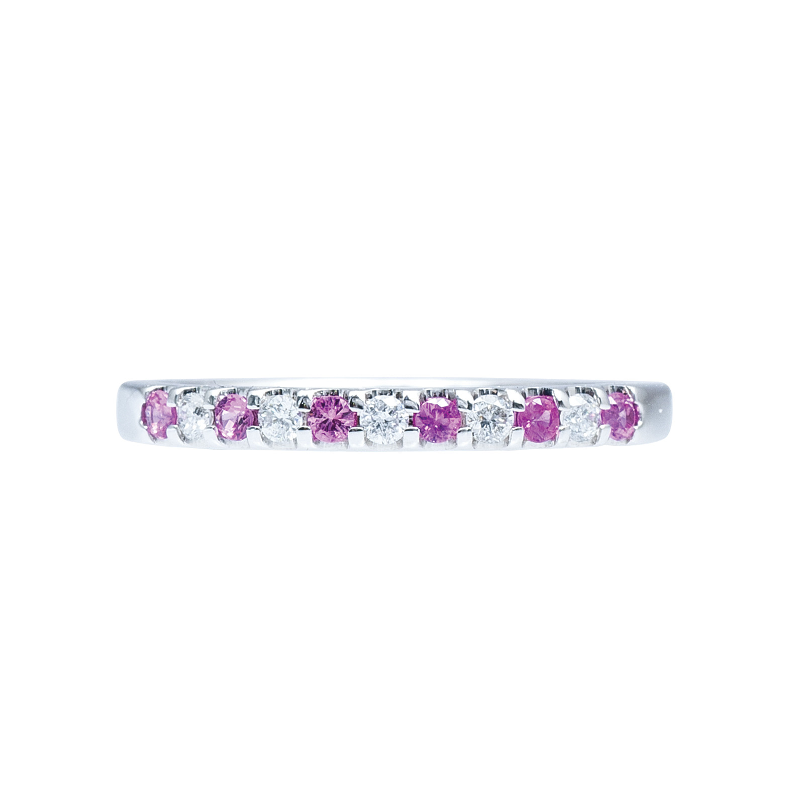 New 0.25 CTW Diamond & Pink Sapphire Wedding Band