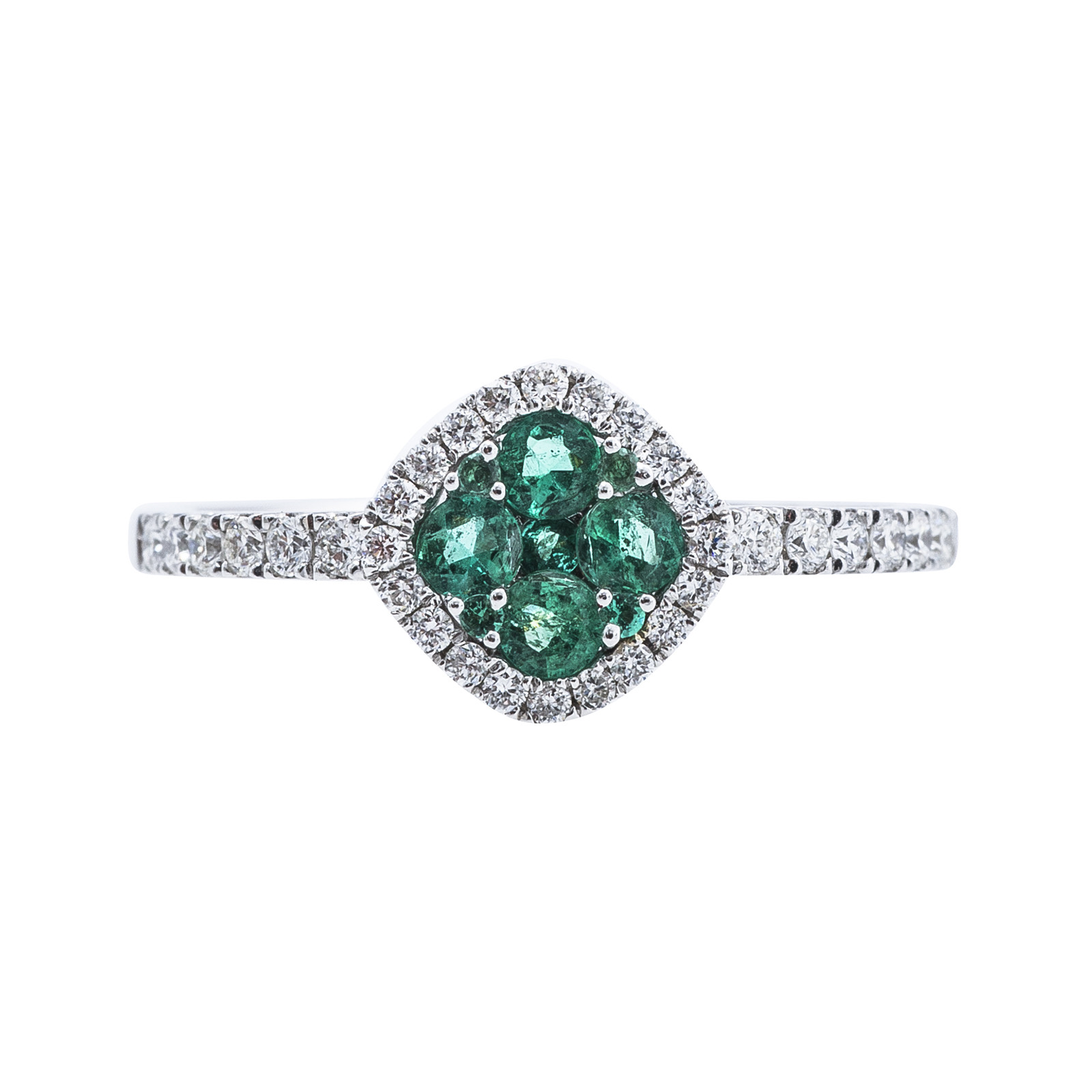 New 0.65 CTW Diamond & Emerald Clover Ring