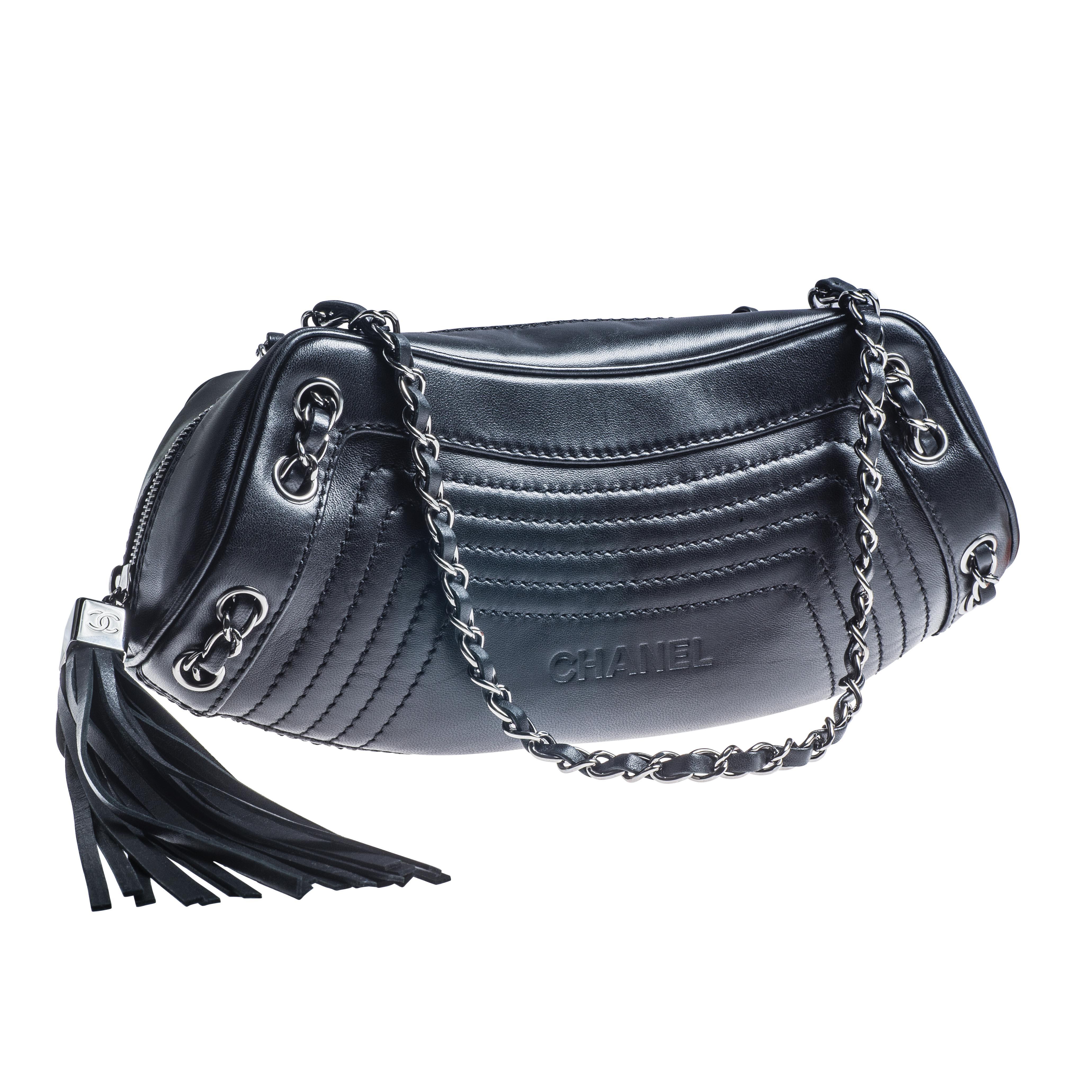 Vintage Chanel Black Tassel Shoulder Handbag