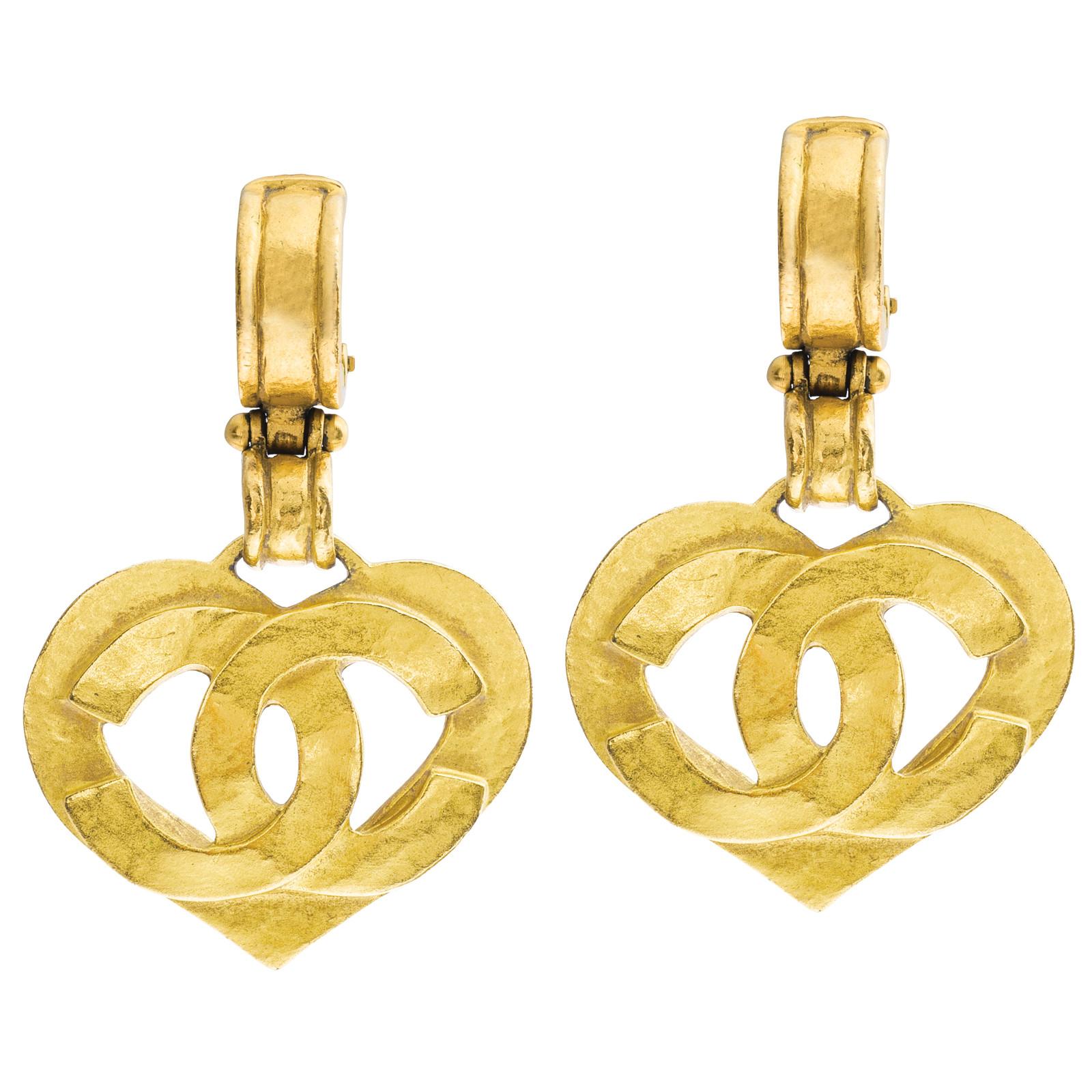 Vintage Chanel Heart Dangle Earrings