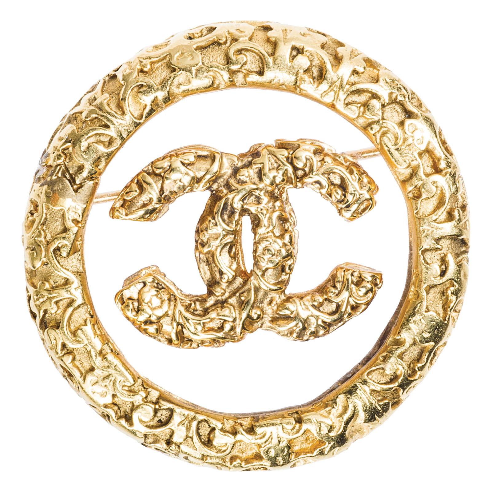 Vintage Chanel Lucite Logo Round Pin