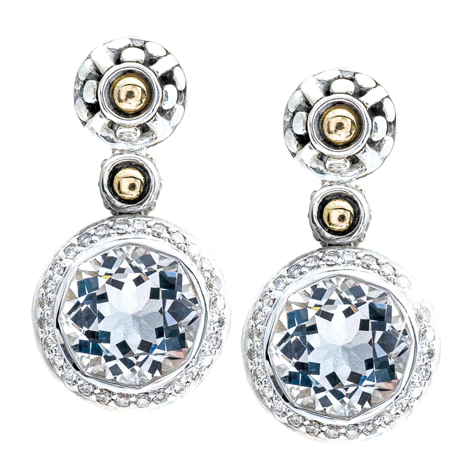 Vintage John Hardy Batu Sari Pavé Diamond & Topaz Earrings