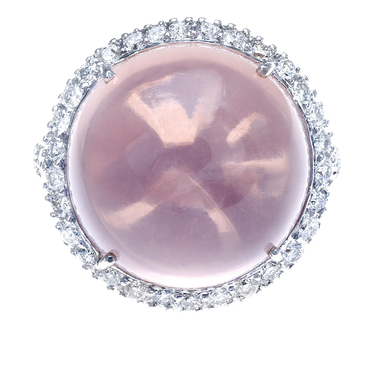 Vintage 16.00 CTW Cabochon Quartz & Diamond Ring