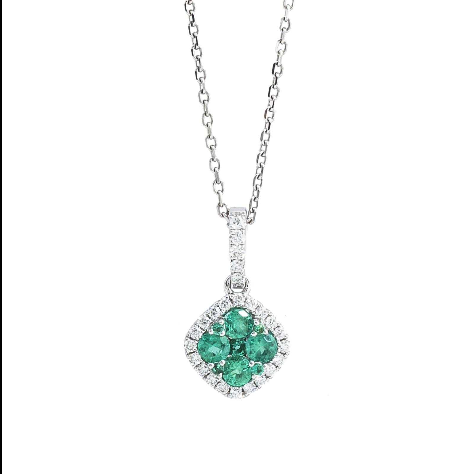 New 0.48 CTW Emerald & Diamond Pendant