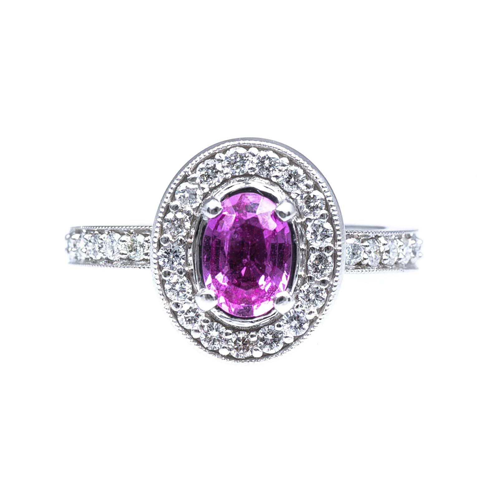 Vintage 1.69 CTW Diamond & Pink Sapphire Ring