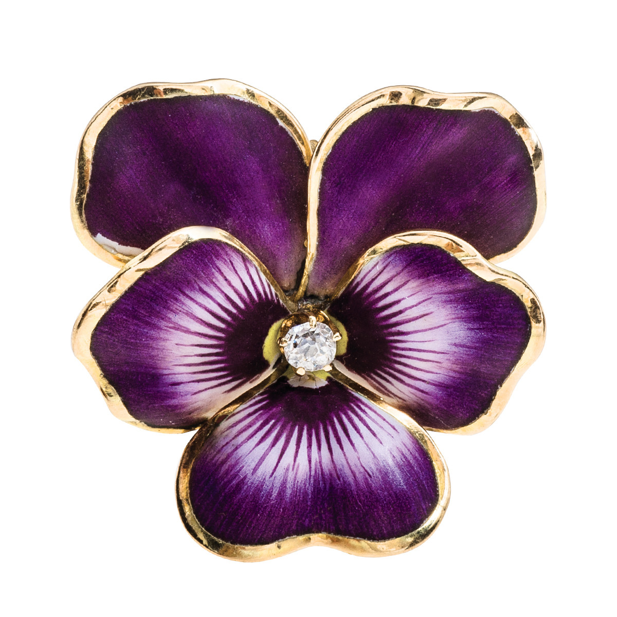 Vintage Diamond & Enamel Pansy Ring