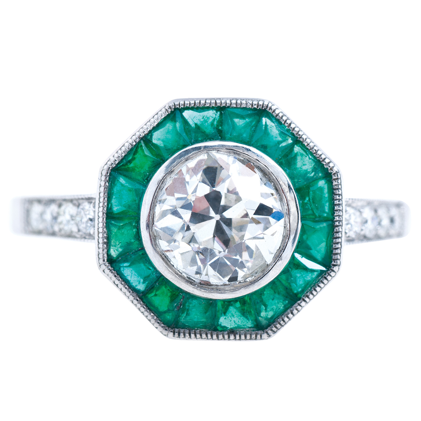 New Art Deco Inspired 1.80 CTW Diamond & Emerald Engagement Ring