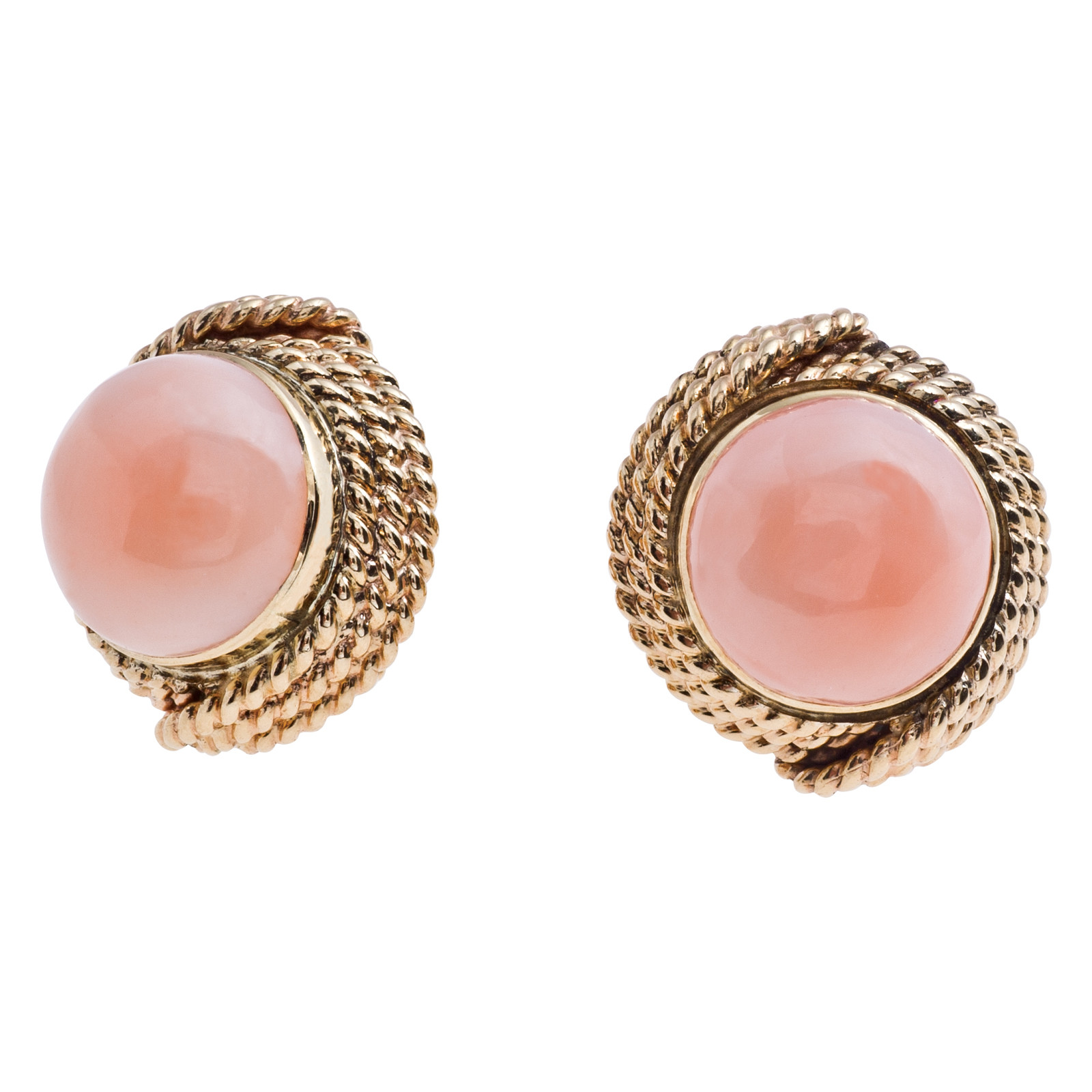 Vintage Coral Cabochon Earrings