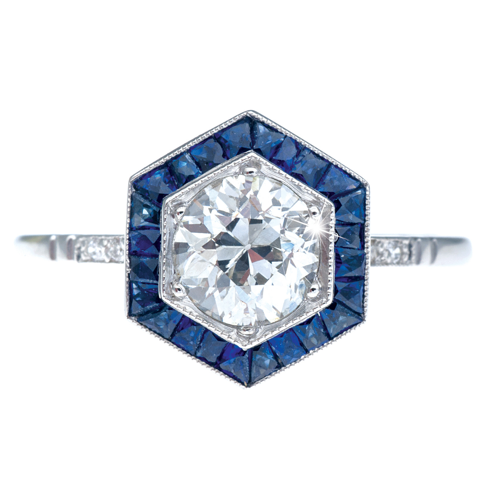 New Art Deco Inspired 0.94 CT Diamond & 0.75 CTW Sapphire Ring