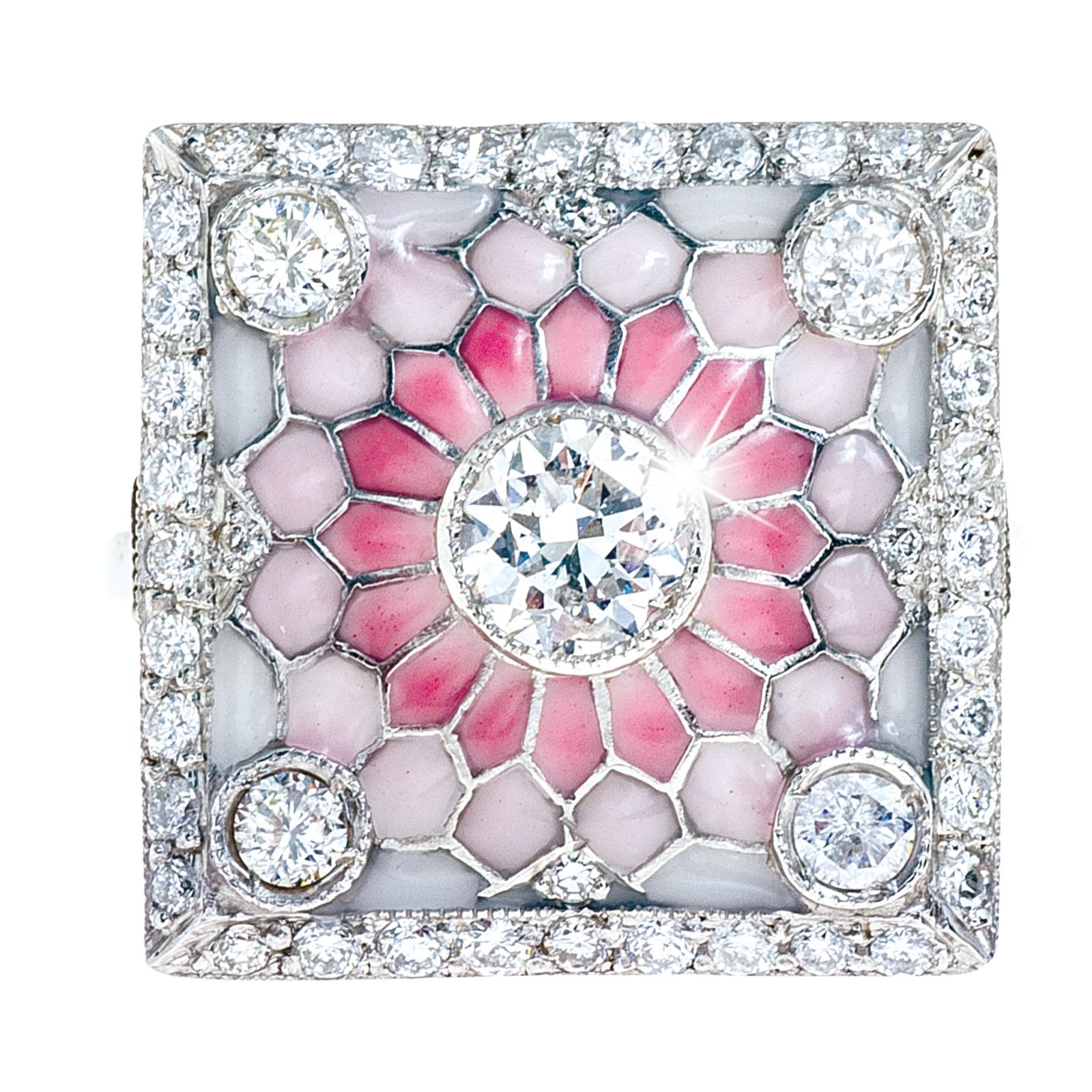 New Art-Deco-Inspired Honeycomb 1.36 CTW Diamond Ring