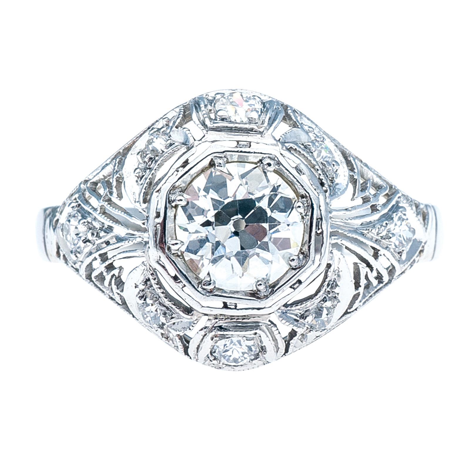 Antique Art Deco 1.07 CTW Old European Diamond Engagement Ring