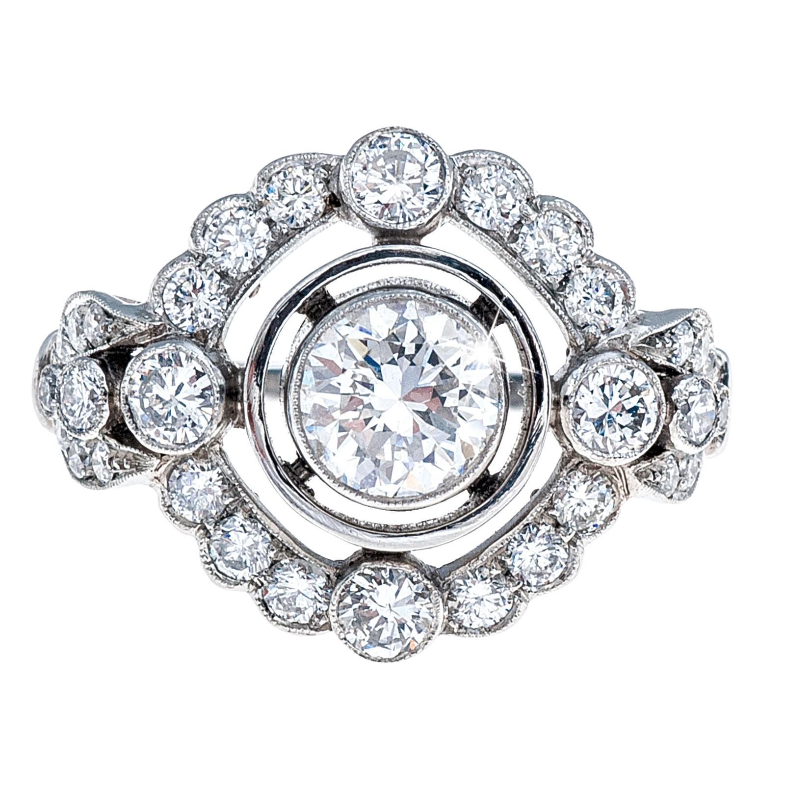 New Art Deco Inspired 1.54 ctw Diamond Halo Engagement Ring