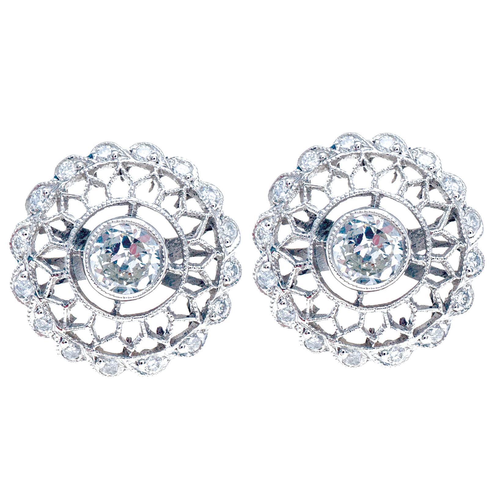 New Art Deco Inspired 0.83 CTW Diamond Earrings