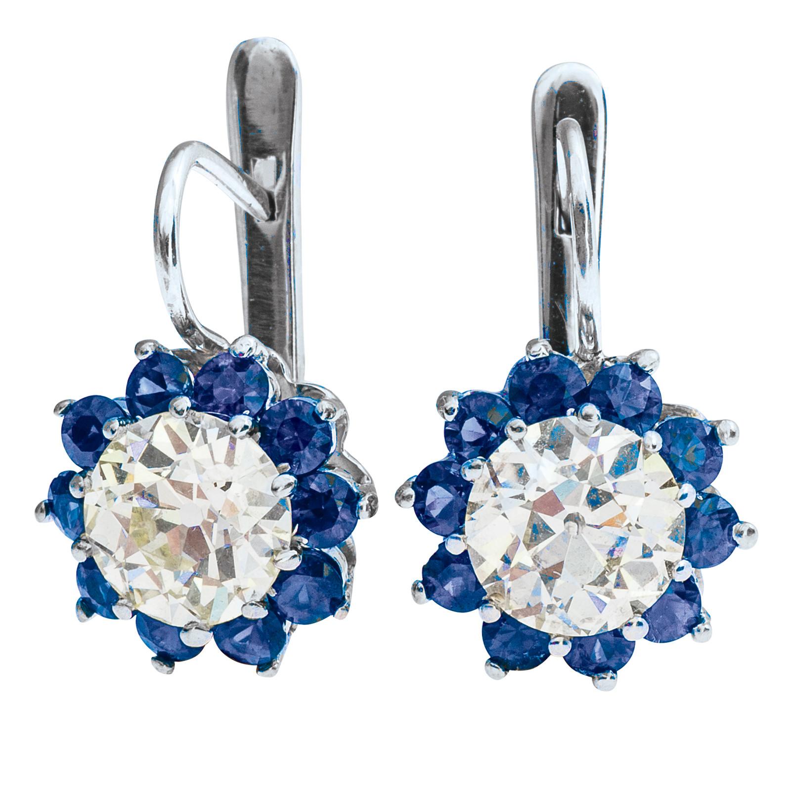 New 4.03 CTW Diamond & 2.29 CTW Sapphire Earrings