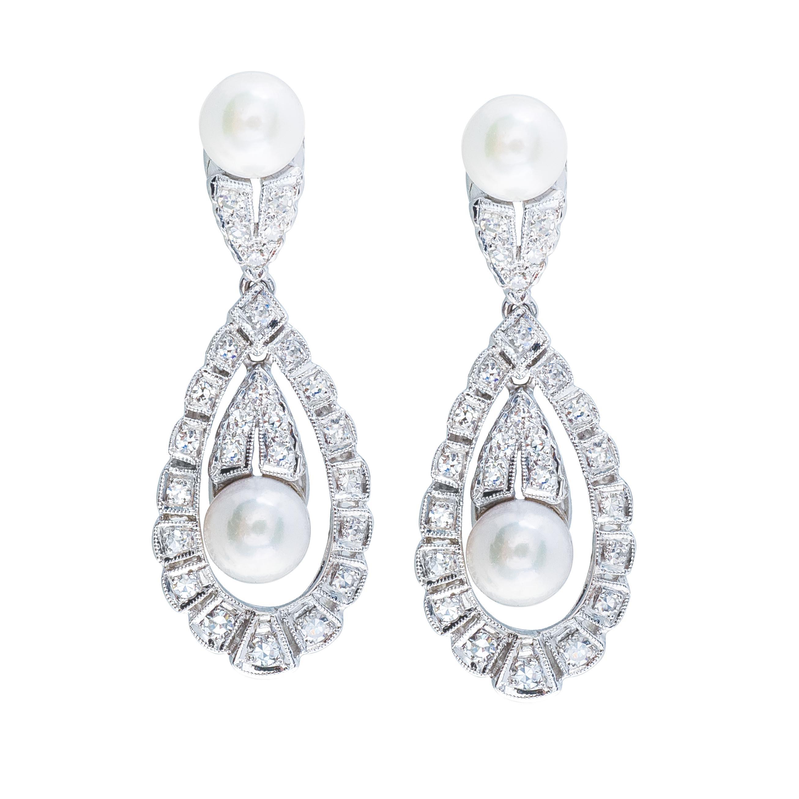 Vintage 0.66 CTW Diamond & Akoya Pearl Earrings