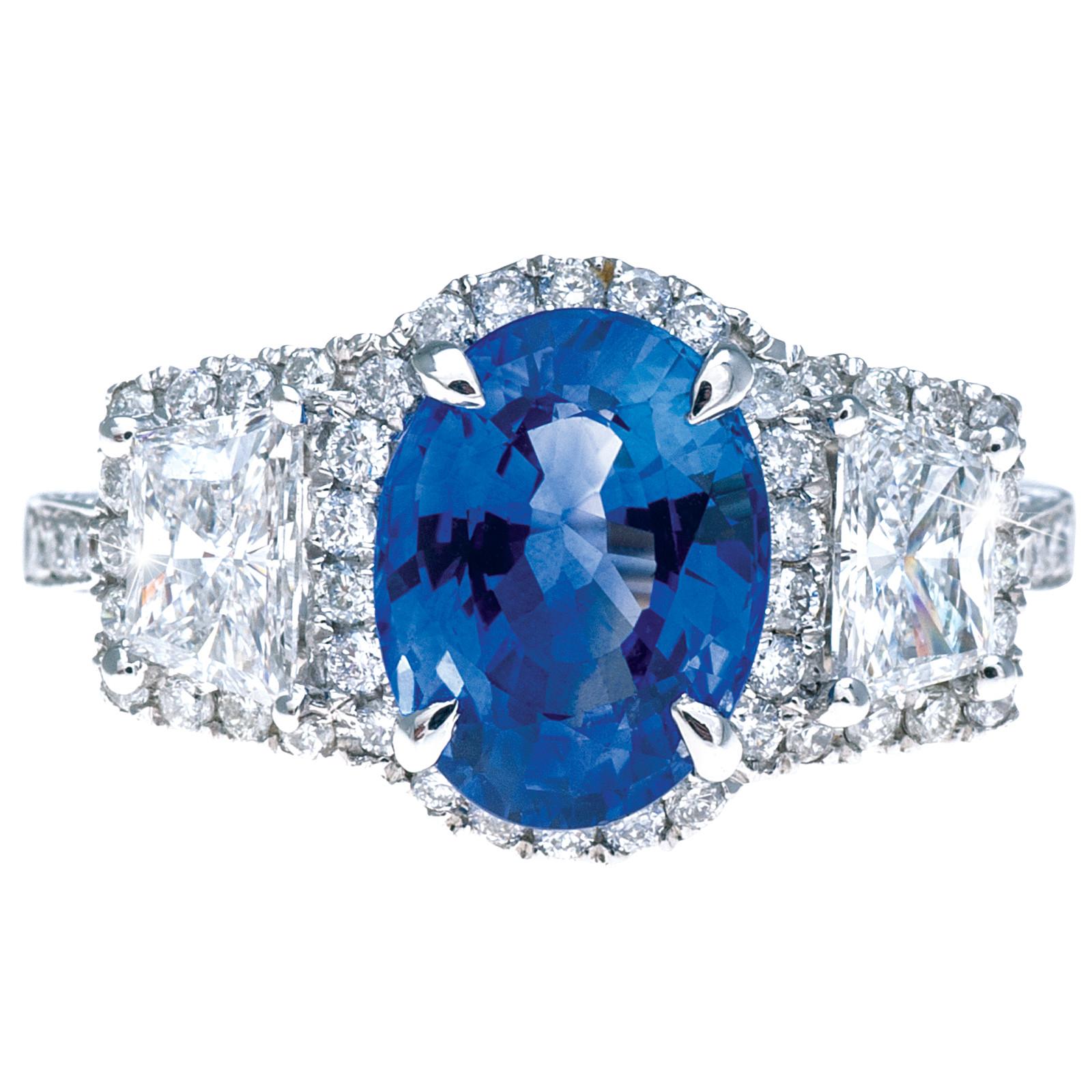 New 4.28 CTW Sapphire & Diamond Ring