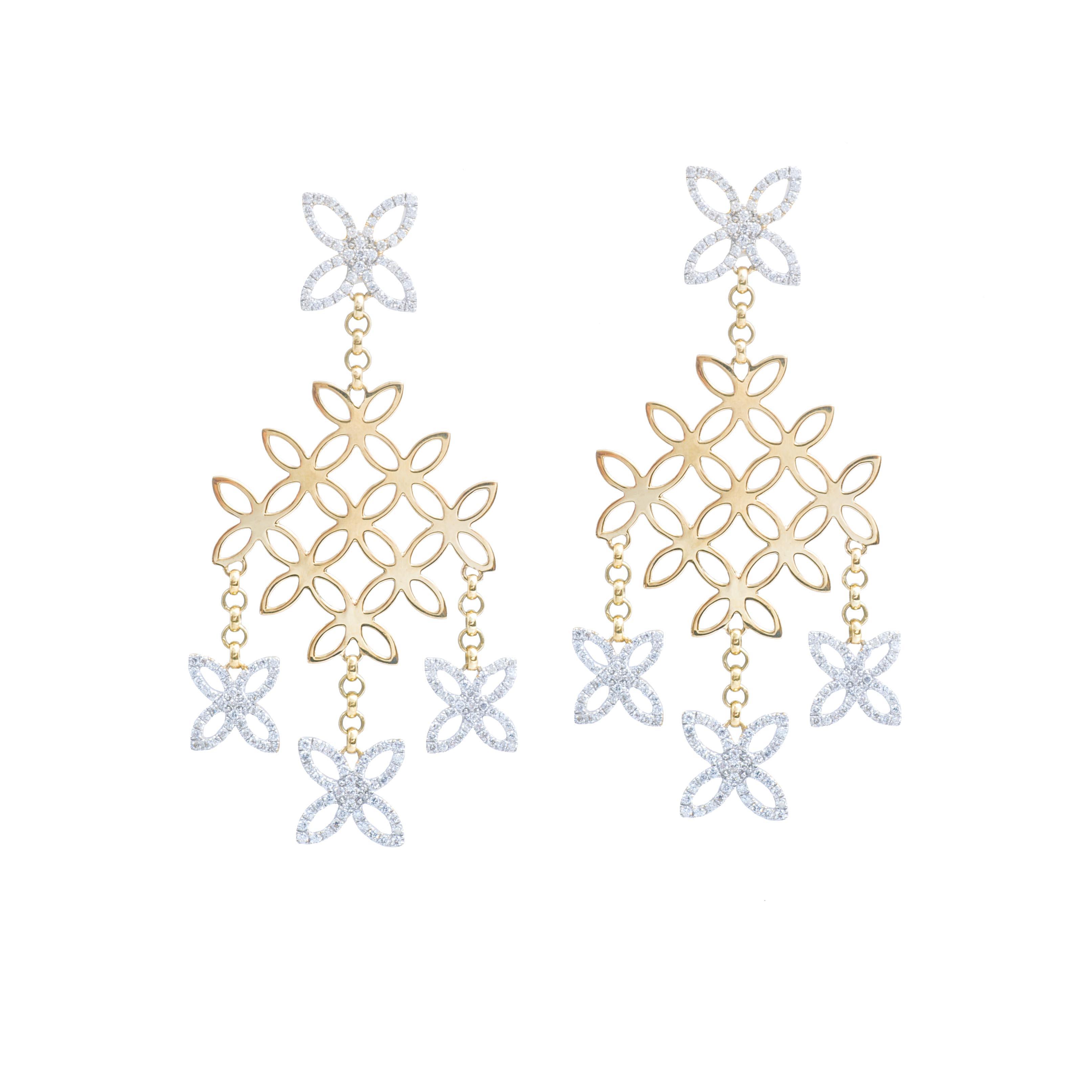 Vinage John Hardy 2.75 CTW Diamond Kawung Chandelier Earrings