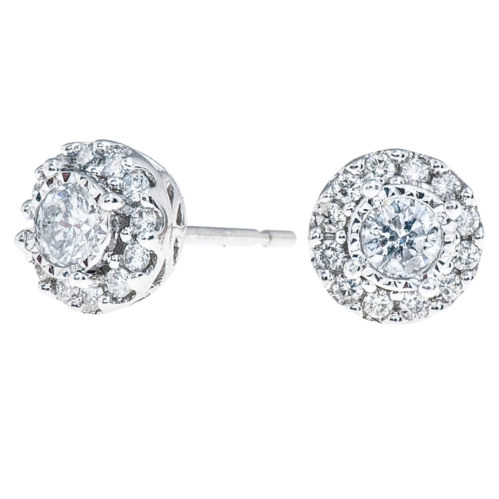 Vintage 0.54 CTW Diamond Halo Stud Earrings