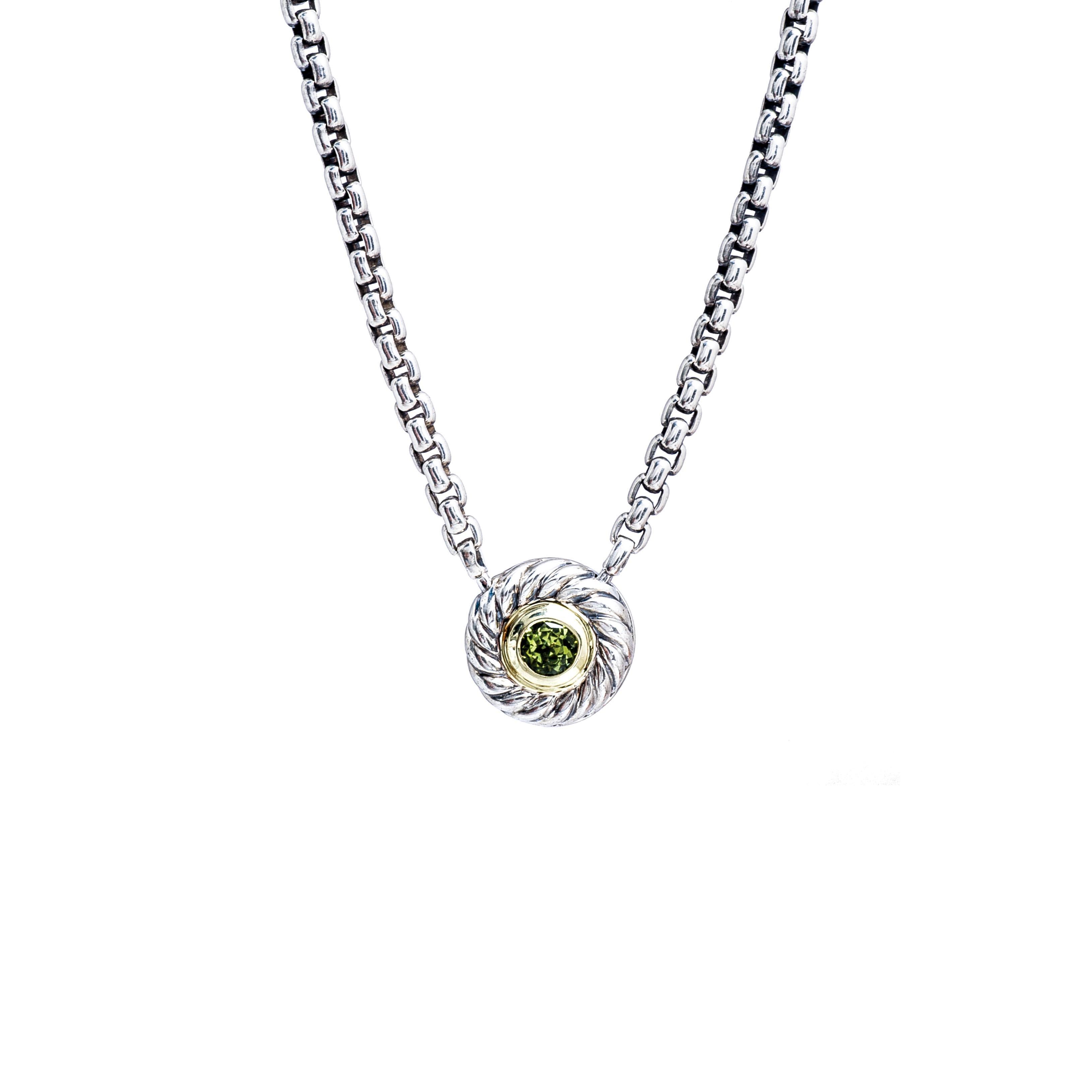 Vintage David Yurman Silver Color Classics Peridot Necklace