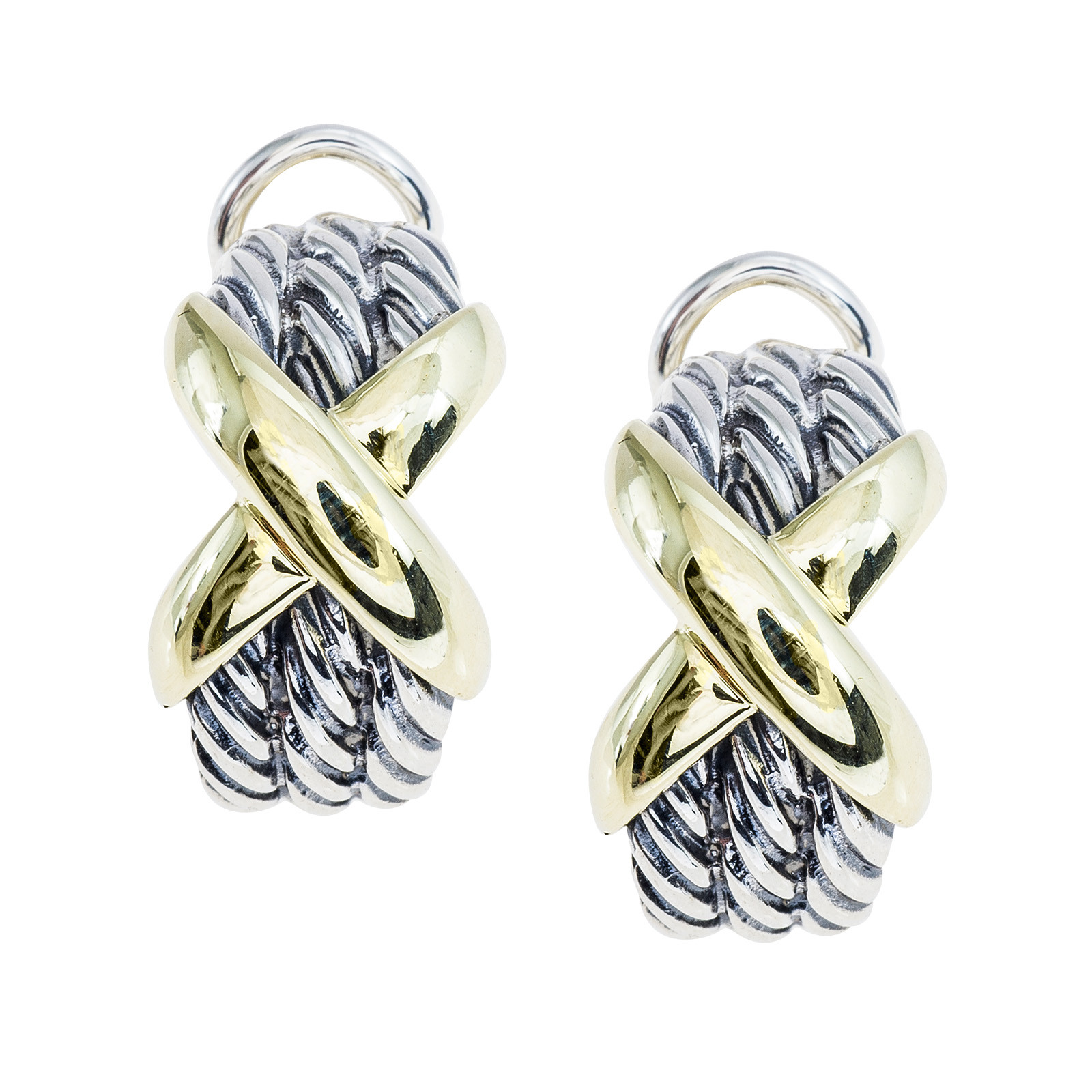 Vintage David Yurman Cable Clics X Crossover Earrings Gallery Image