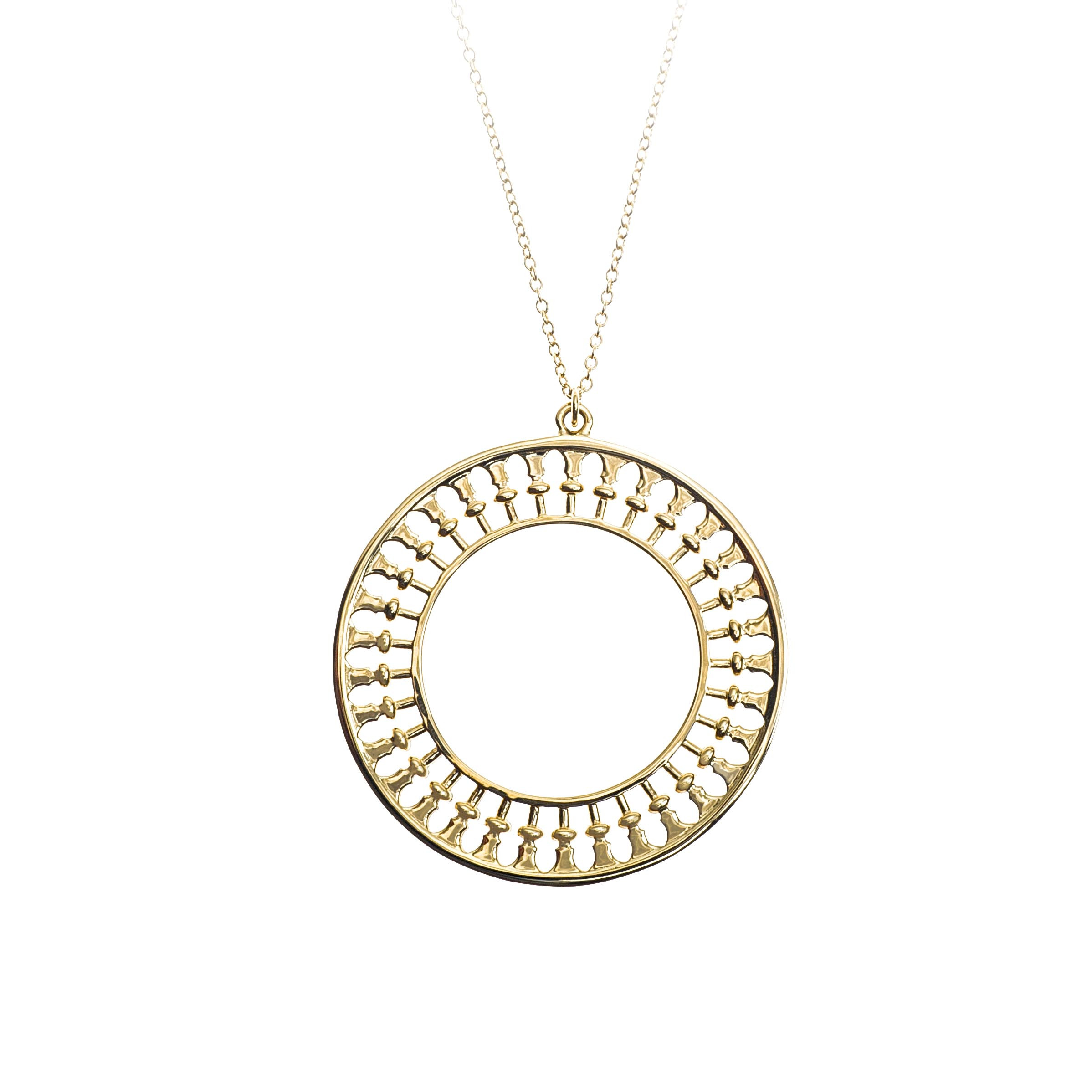 jewelry s chanel women medallion in cc gold necklace pendant metallic lyst