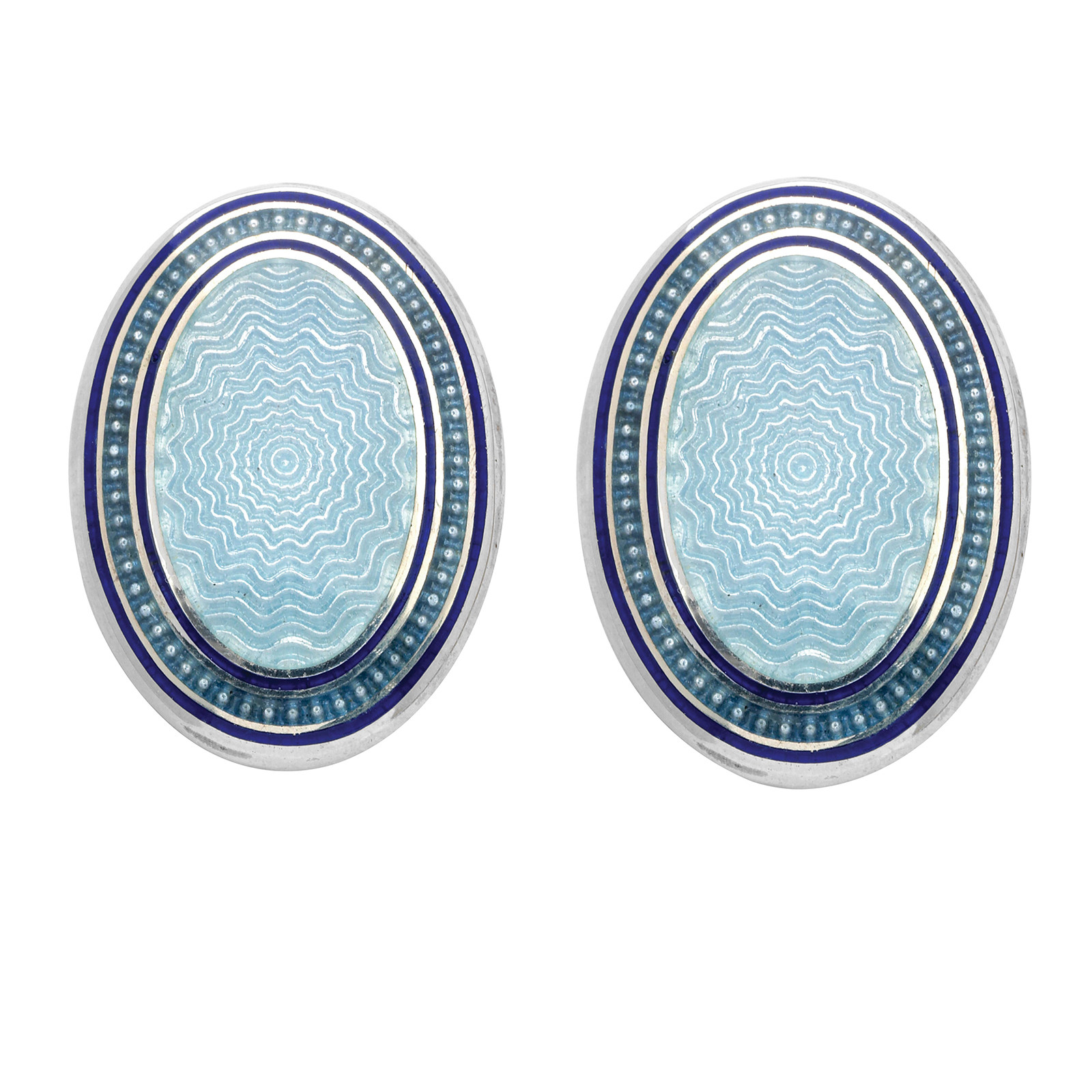New Deakin & Francis Navy Three-Tone Blue Oval Cufflinks