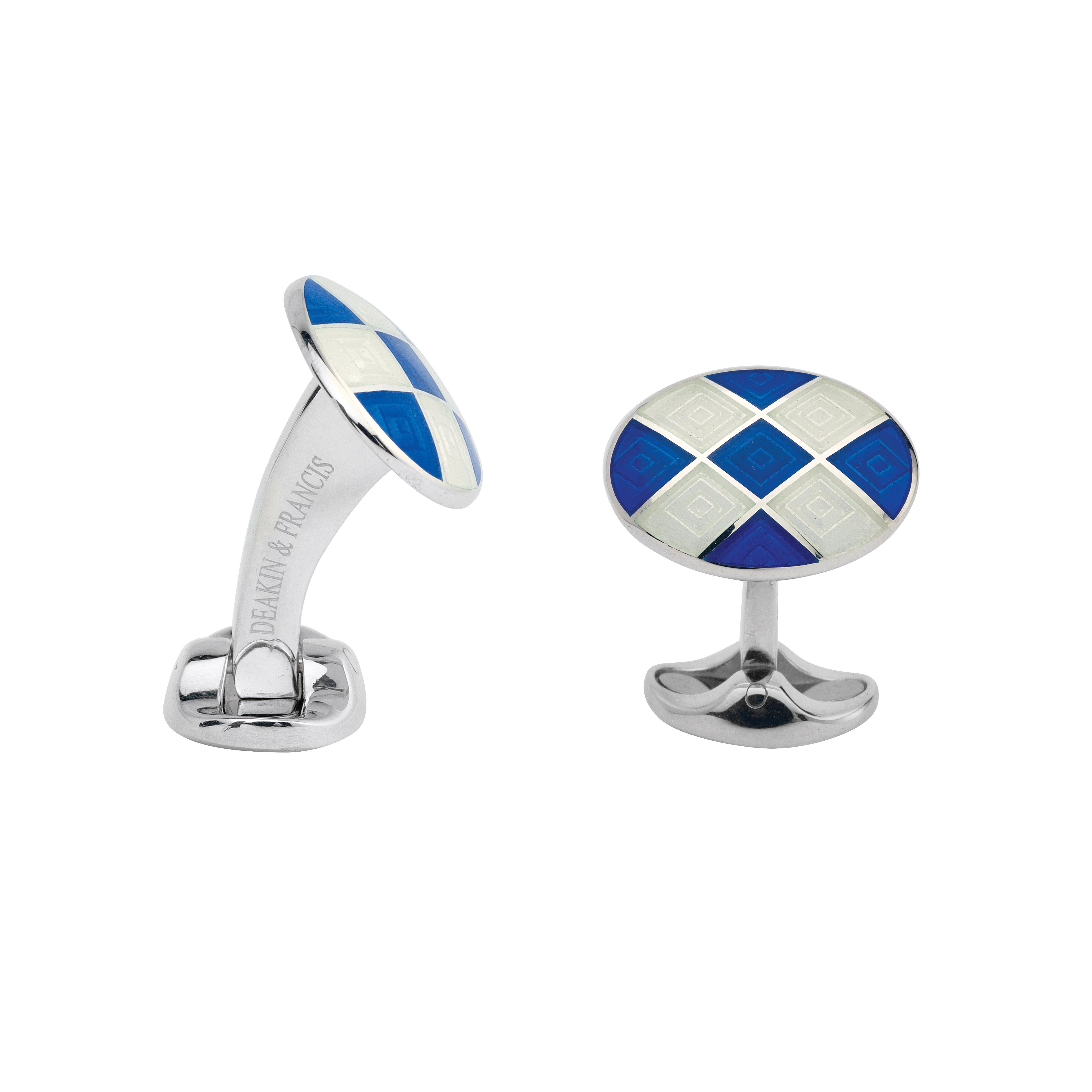 New Deakin & Francis Blue & Clear Enamel Oval Cufflinks