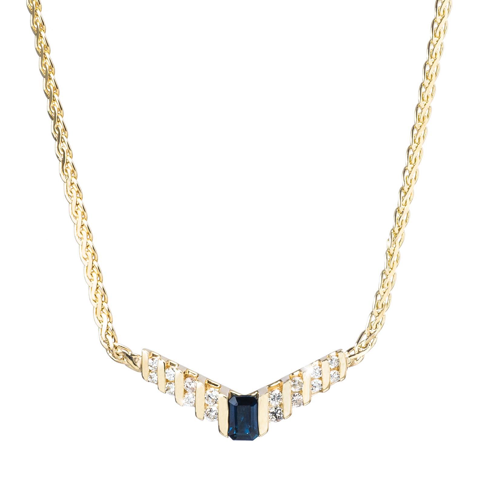 Vintage 0.95 CTW Diamond & Sapphire Necklace