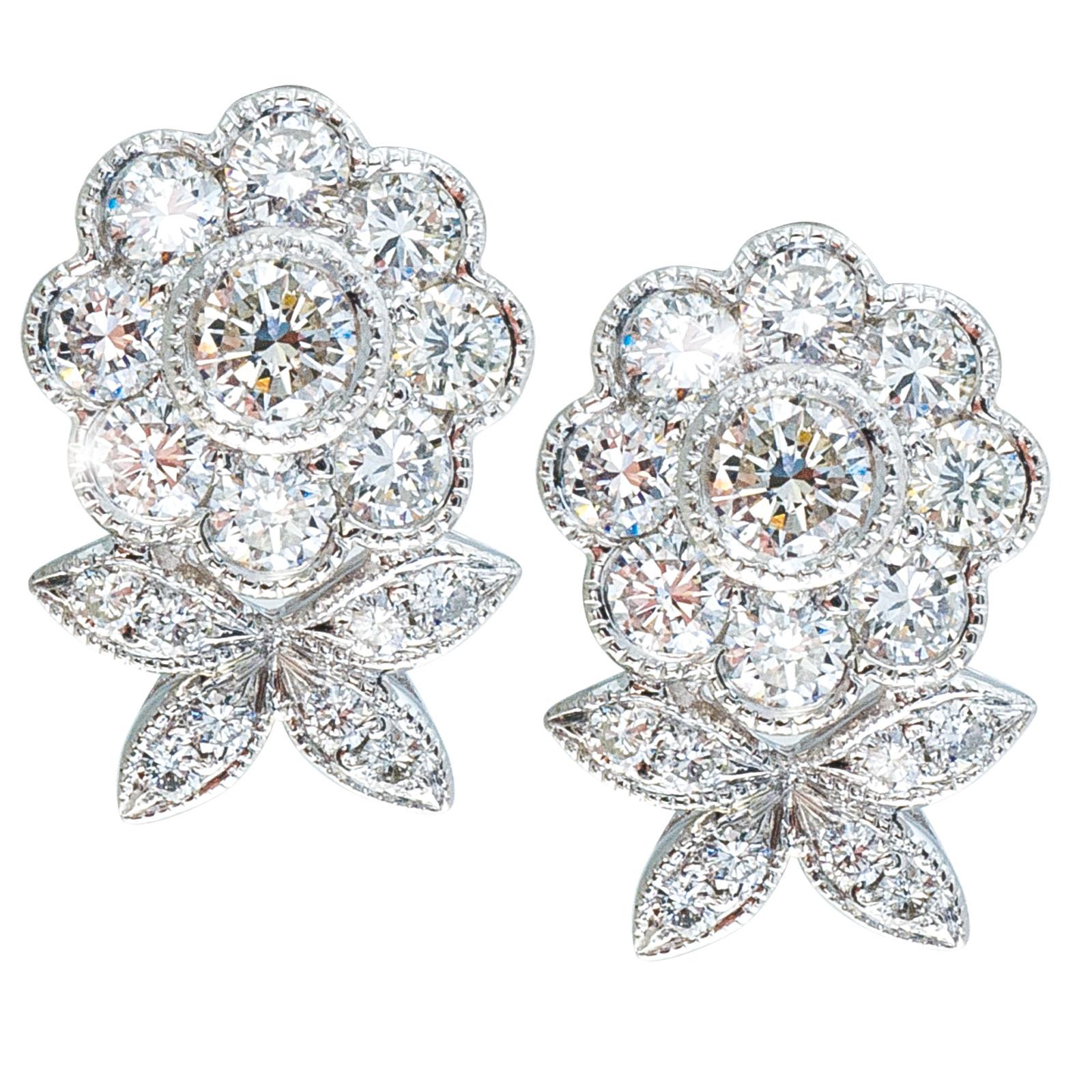 Vintage 0.78 CTW Diamond Flower Stud Earrings