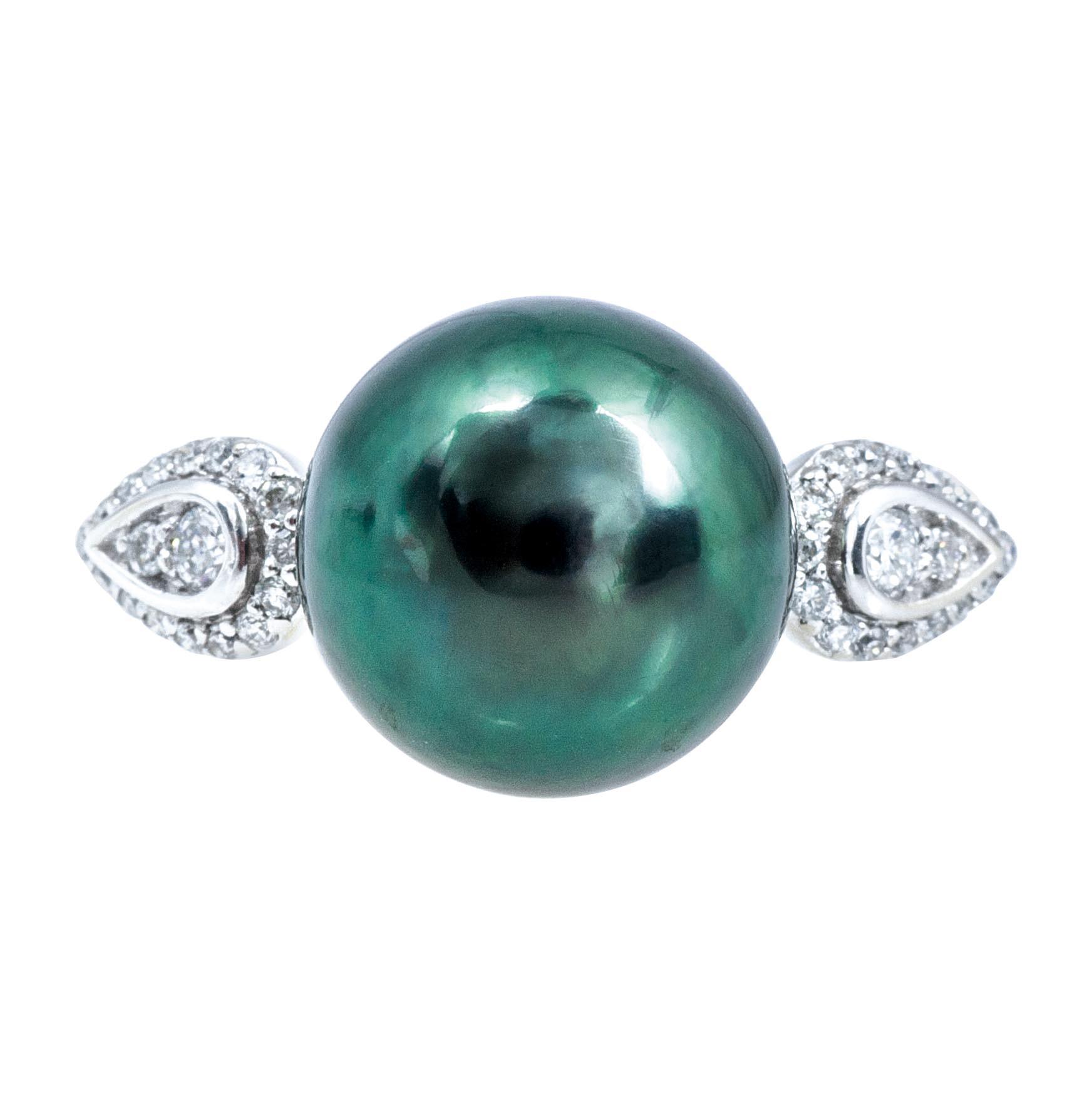 New Peacock Tahitian Cultured Pearl & 0.16 CTW Diamond Ring