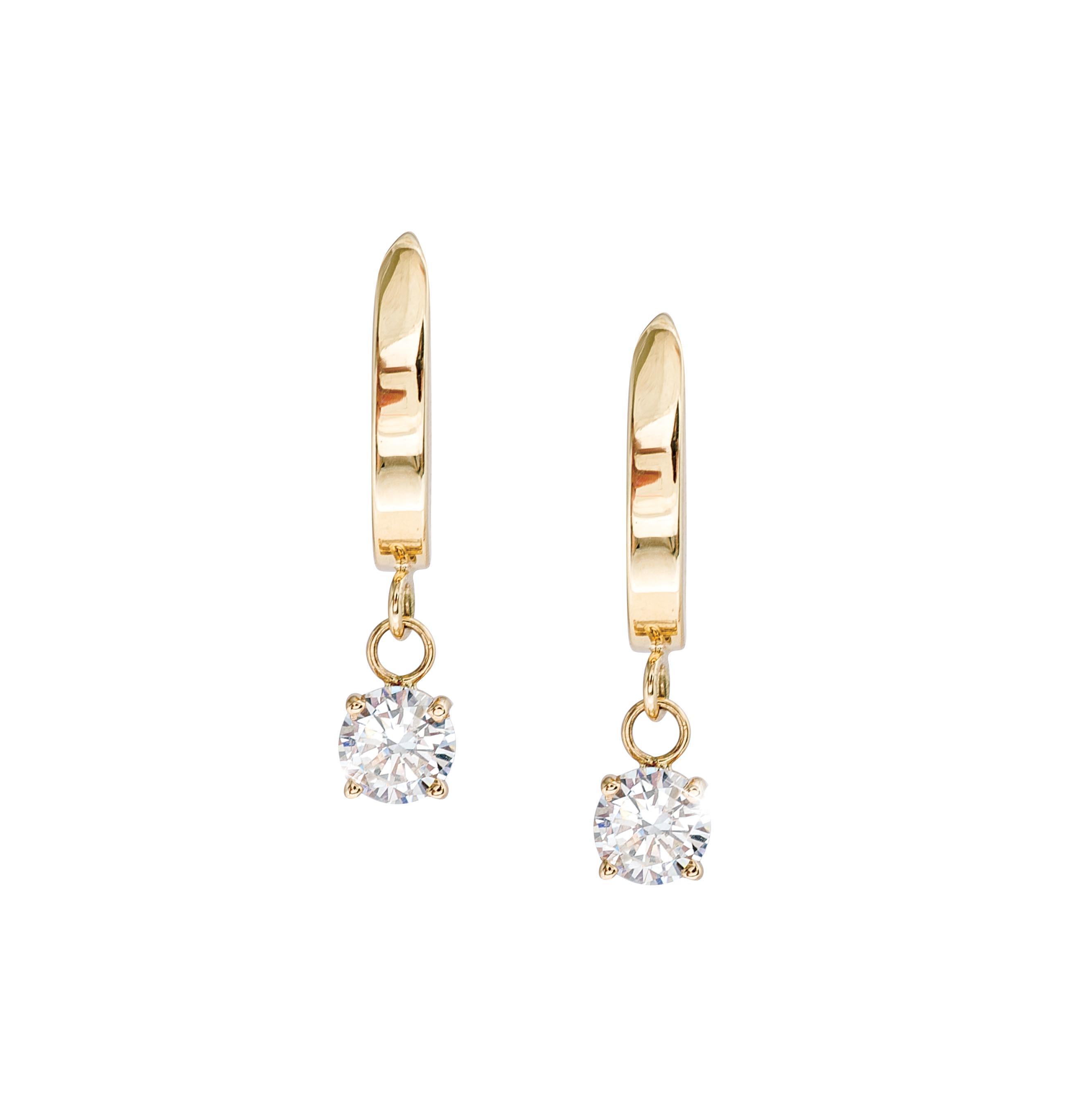 Vintage 0.86 CTW Diamond J-Hoop Dangle Earrings
